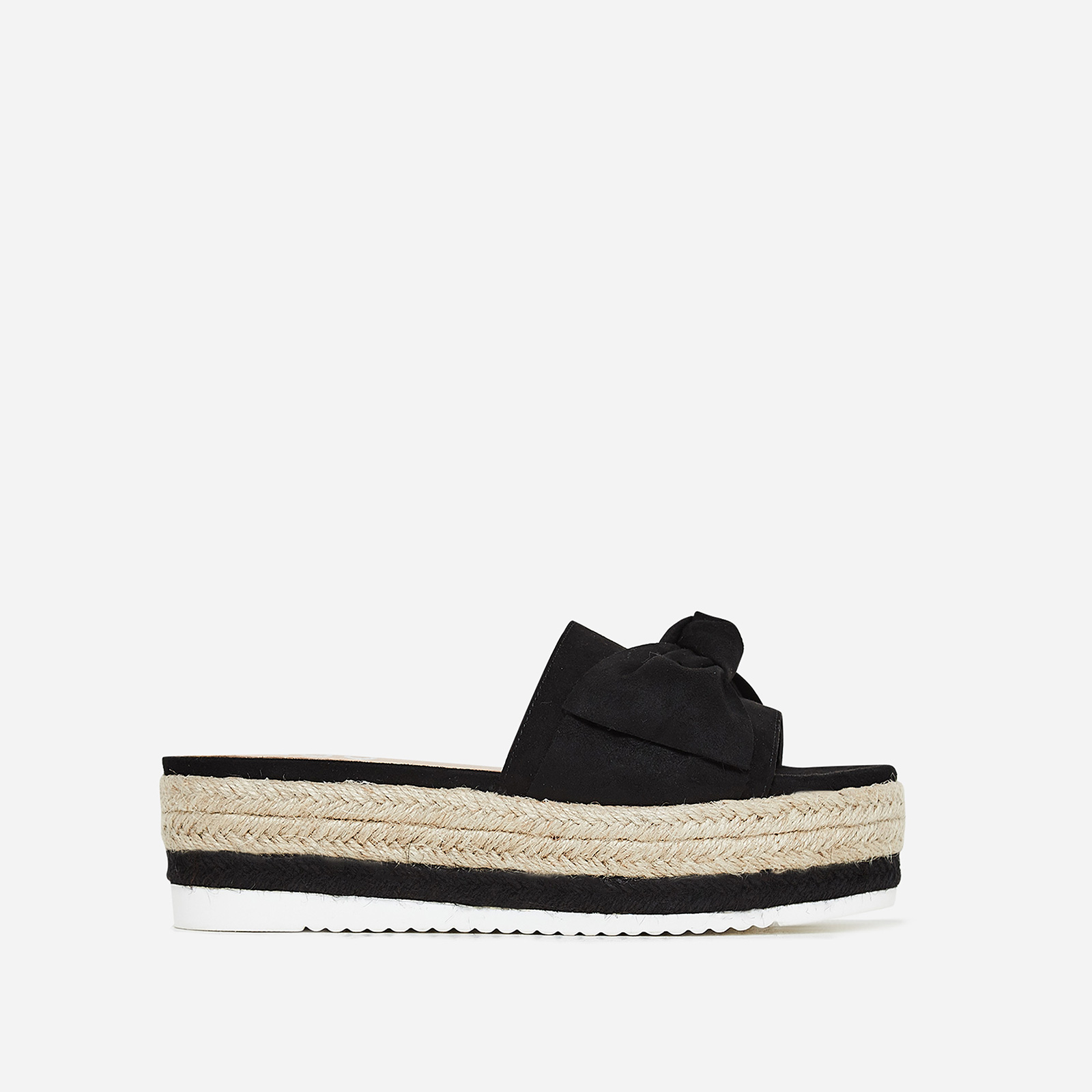 Fergie Bow Detail Espadrille Slider In Black Faux Suede