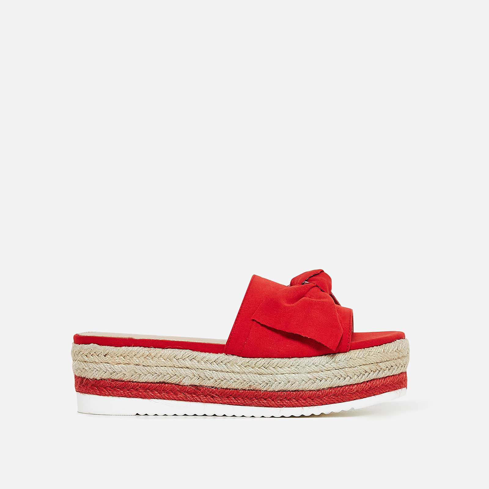 Fergie Bow Detail Espadrille Slider In Red Faux Suede