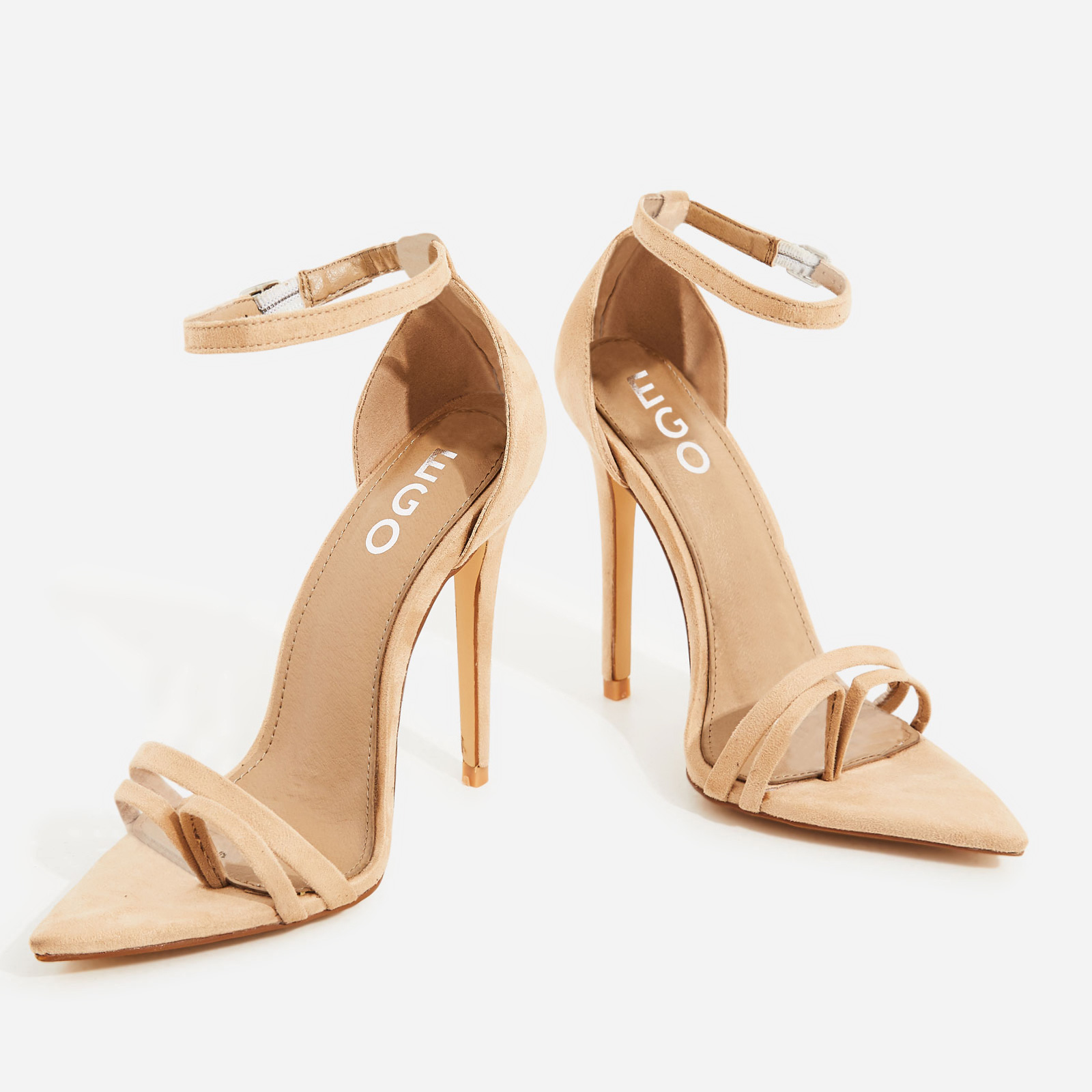Fern Barley There Strappy Toe Post Heel In Nude Faux Suede