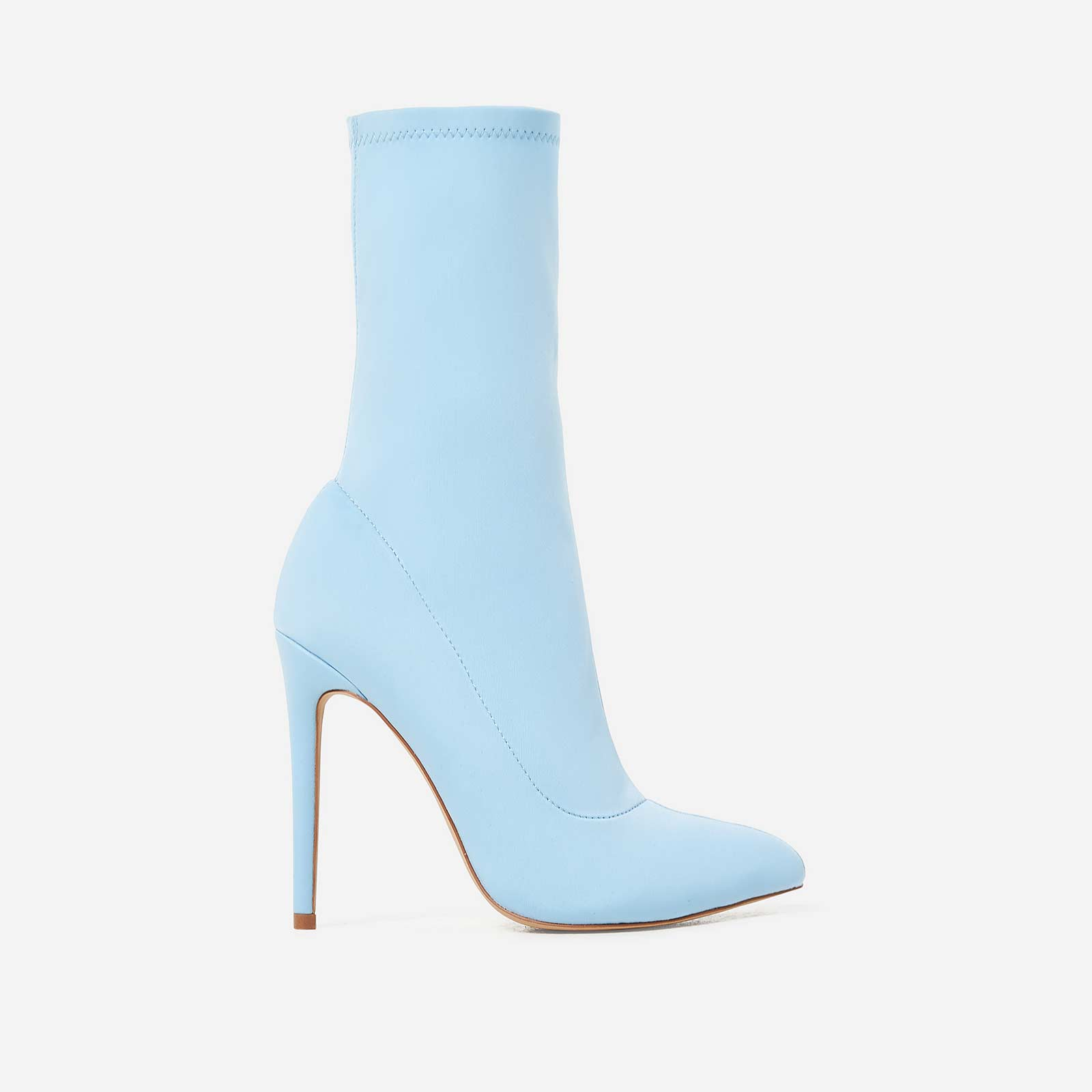 Fiona Pointed Toe Sock Boot In Blue Lycra