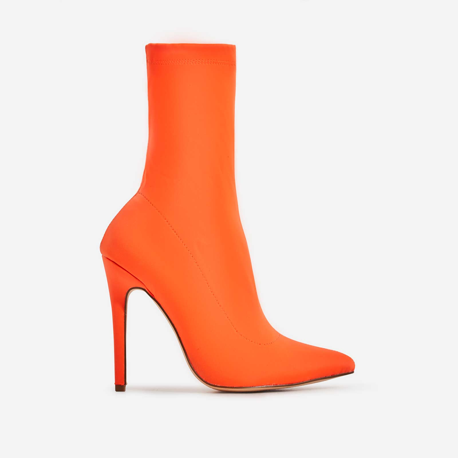 Fiona Pointed Toe Ankle Sock Boot In Neon Orange Lycra