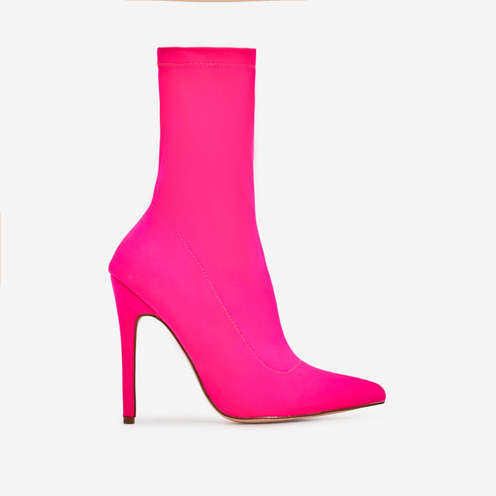 Fiona Pointed Toe Ankle Sock Boot In Neon Pink Lycra