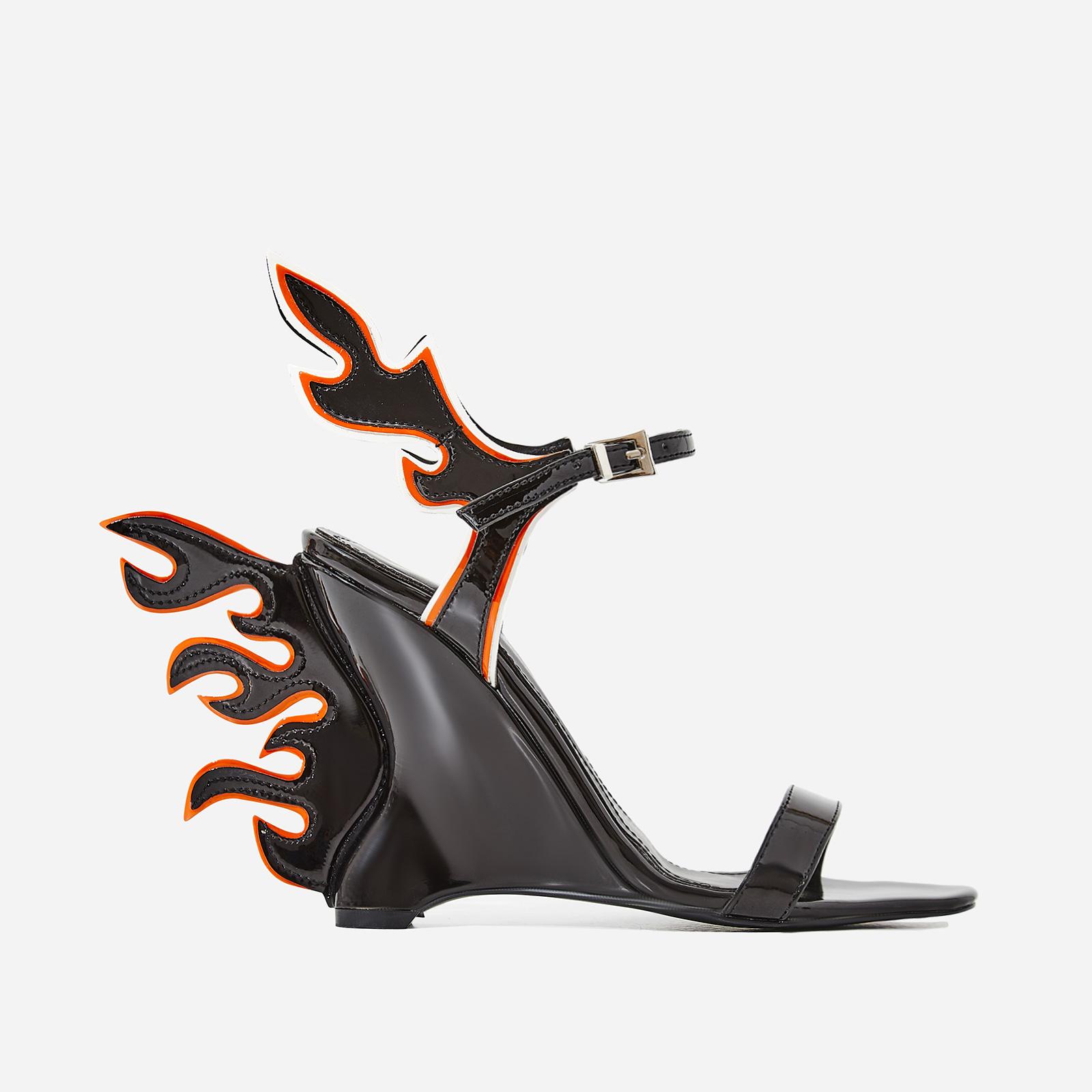 Flame Wedge Heel In Black Patent