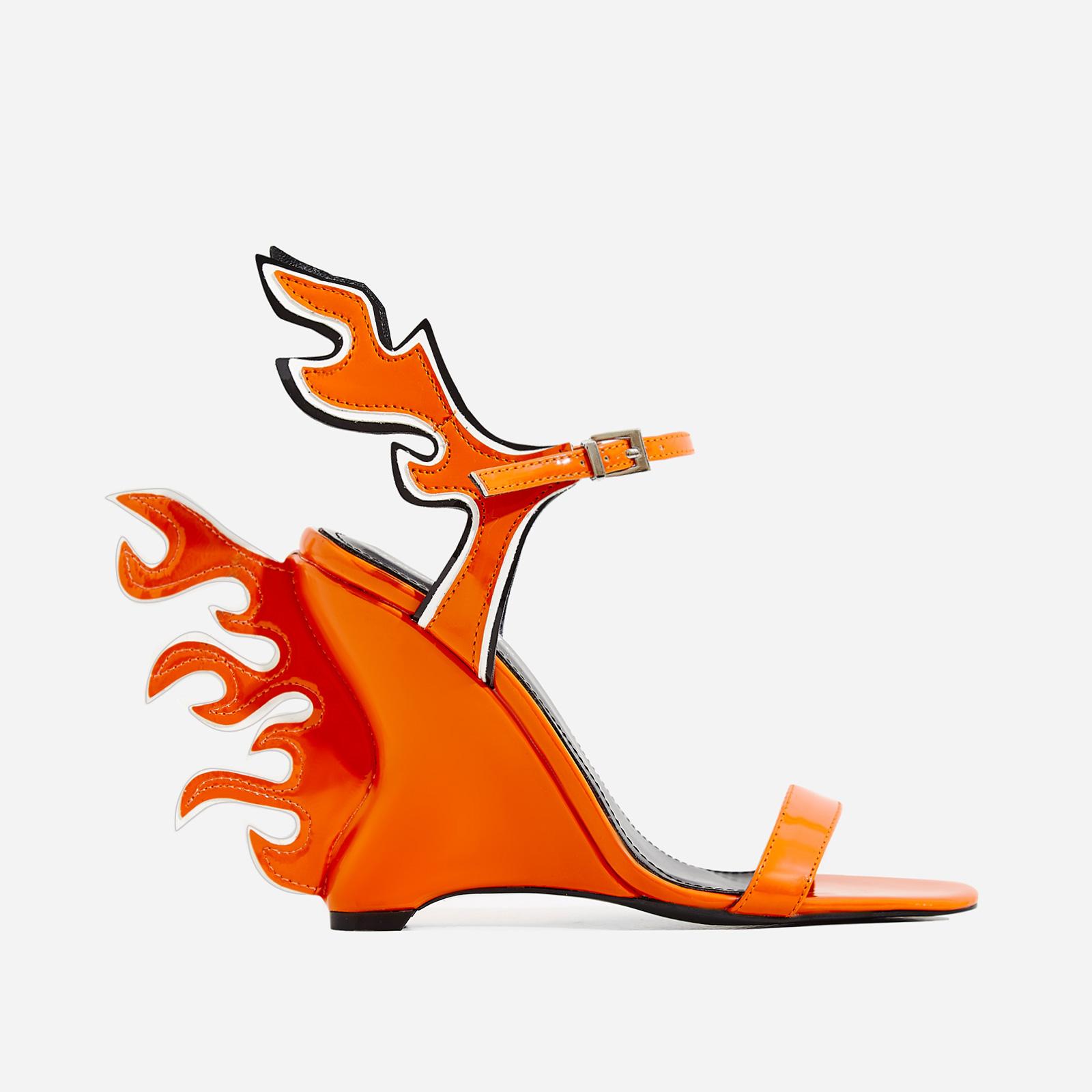 Flame Wedge Heel In Orange Patent