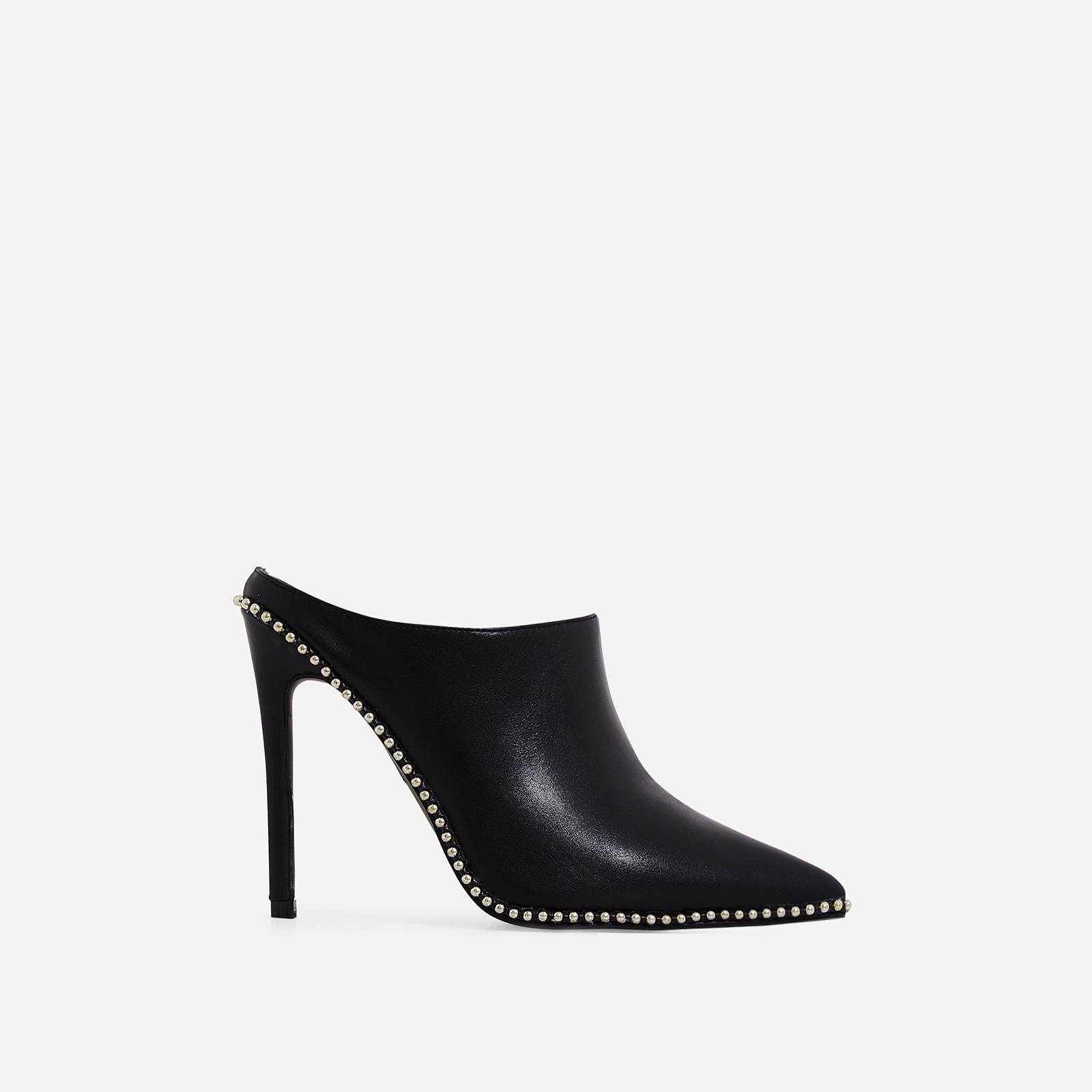 Fleur Studded Detail Heel Mule In Black Faux Leather