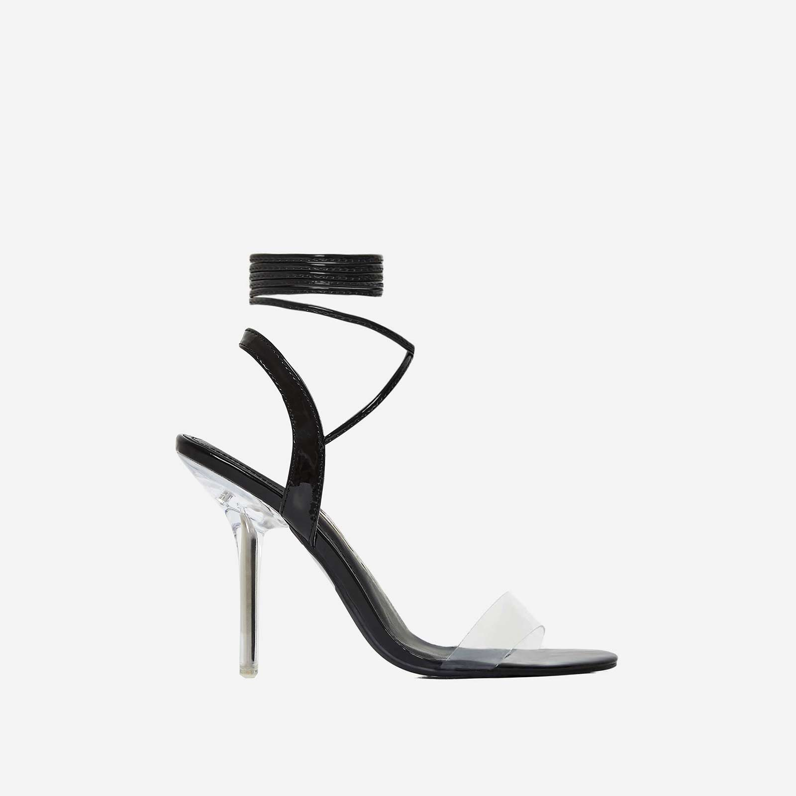 Foxy Lace Up Perspex Heel In Black Patent