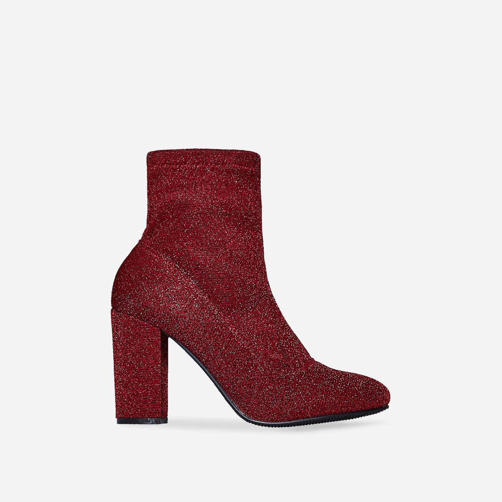 Freddie Block Heel Ankle Boot In Red Shimmer Knit