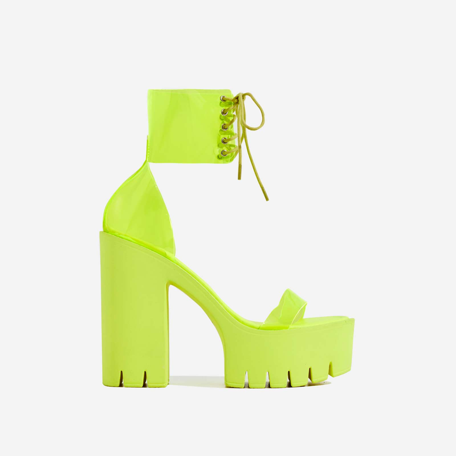 Frenzy Lace Up Perspex Platform Block Heel In Lime Green