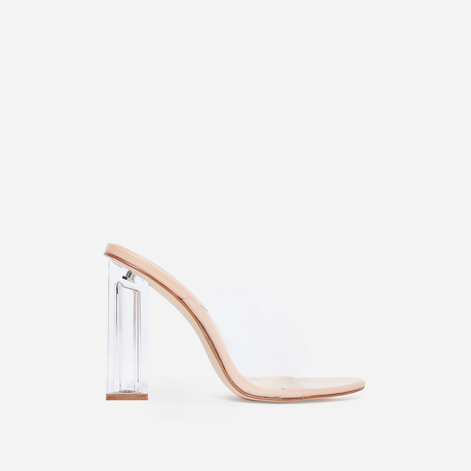 Fusion Perspex Block Heel Peep Toe Mule In Nude Patent