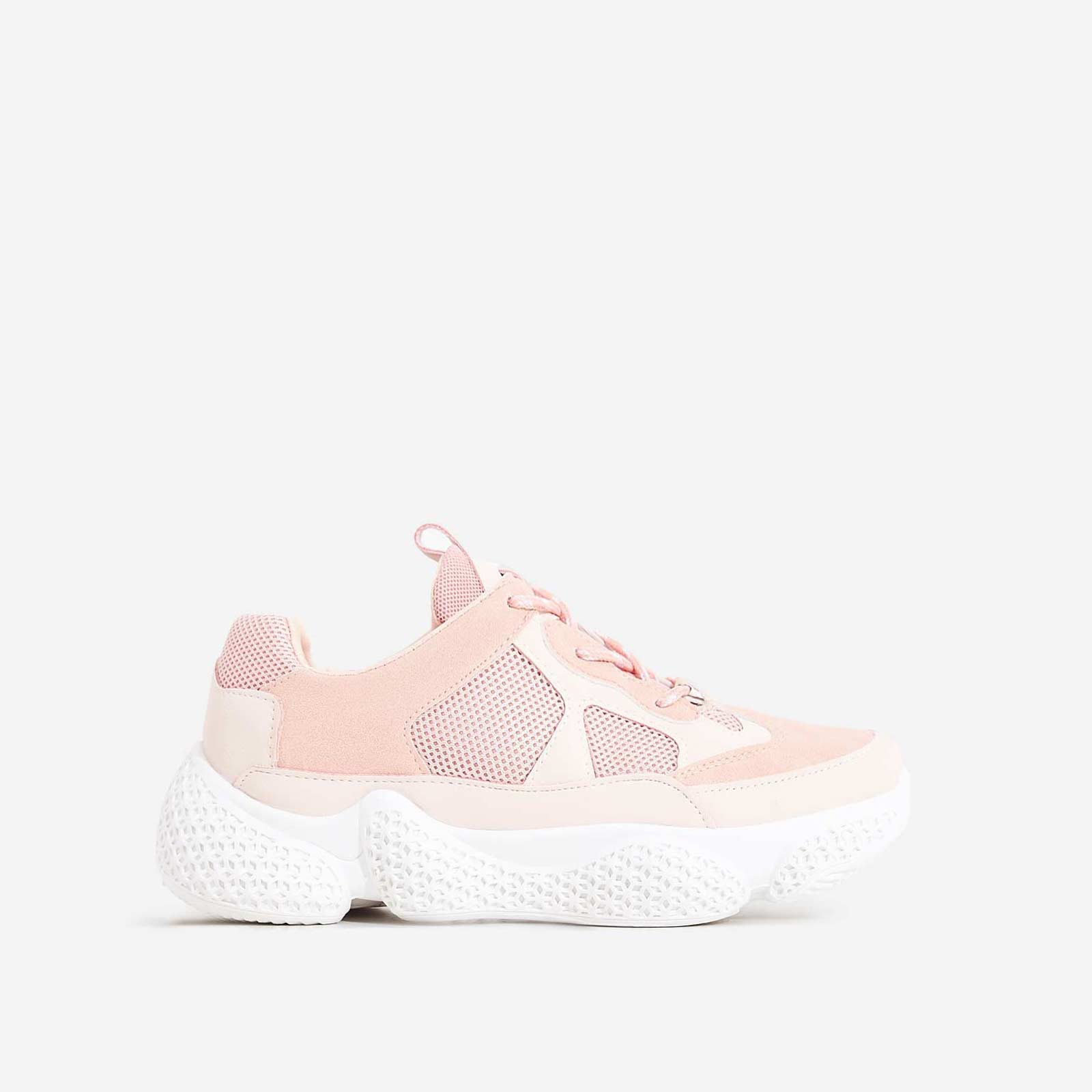 Reeva Chunky Sole Trainer In Pink Faux Suede
