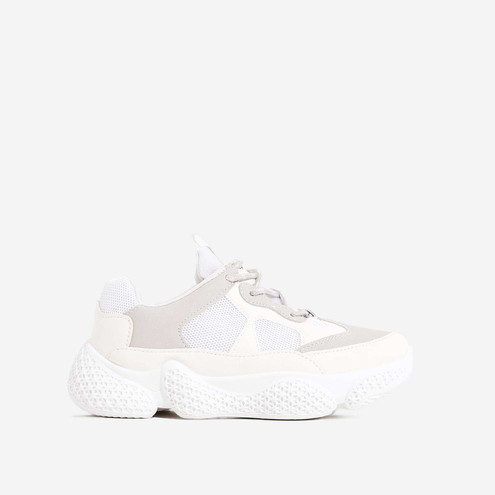 Reeva Chunky Sole Trainer In White Faux Suede