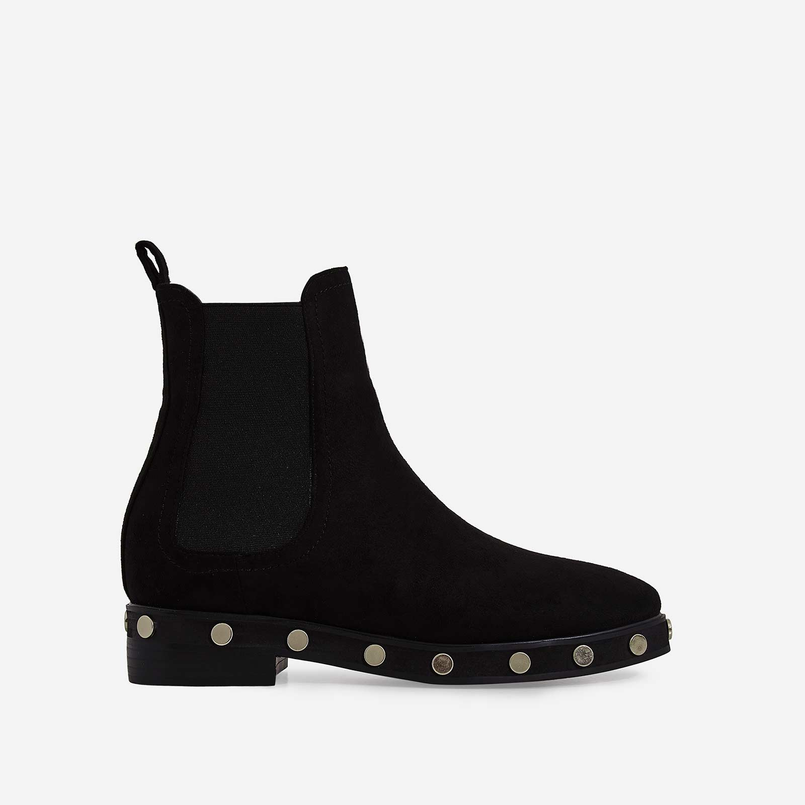 Gabi Studded Detail Ankle Biker Boot In Black Faux Suede