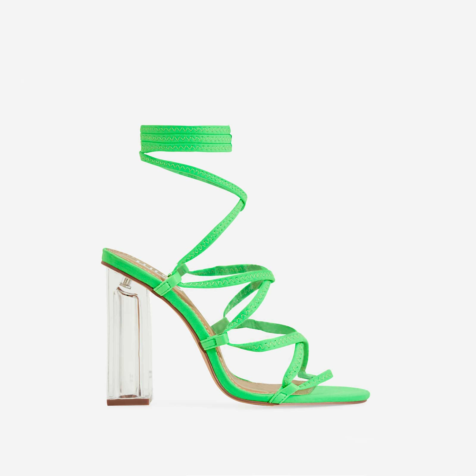 Gamble Clear Perspex Lace Up Block Heel In Lime Green Lycra
