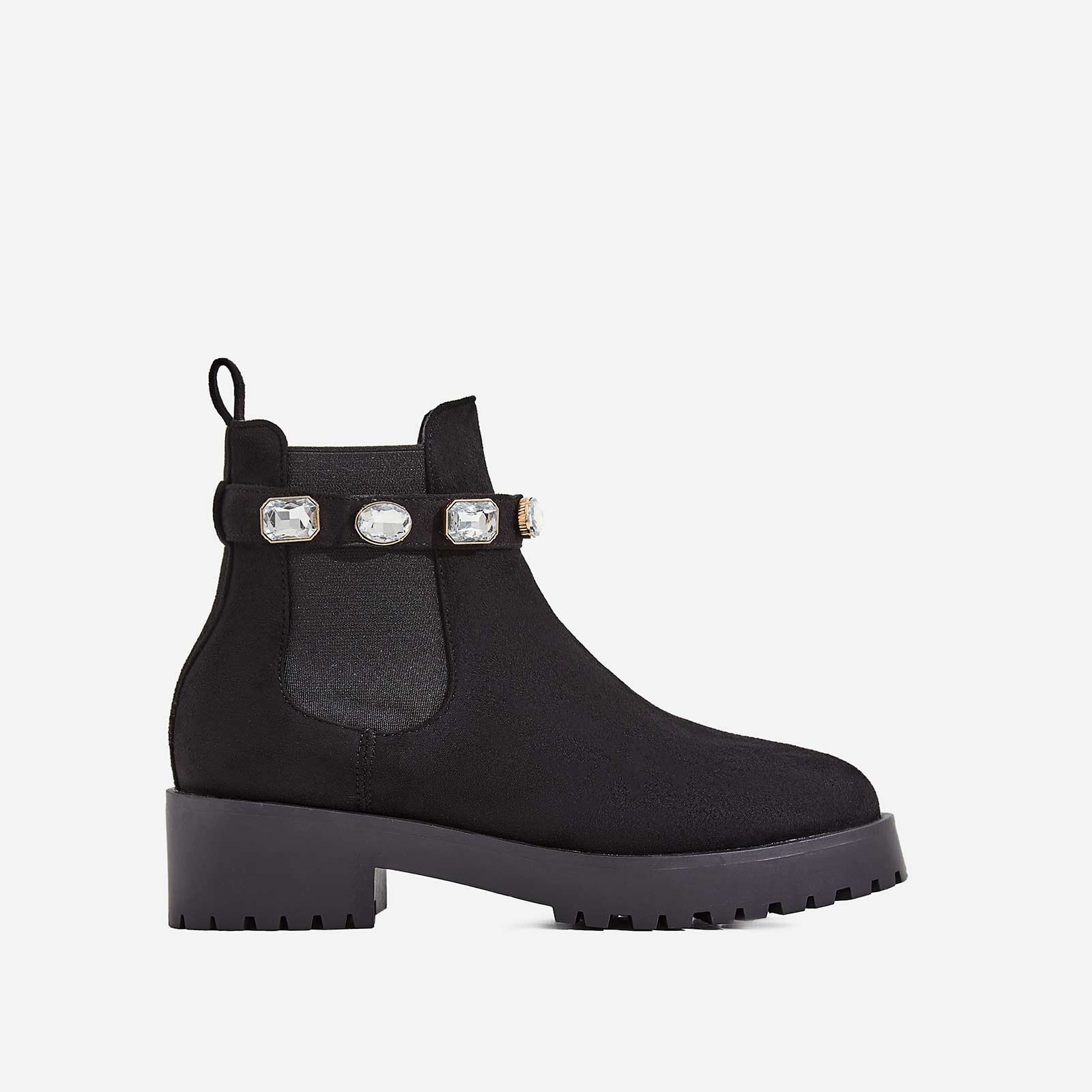 Gem Jewel Detail Strap Ankle Biker Boot In Black Faux Suede