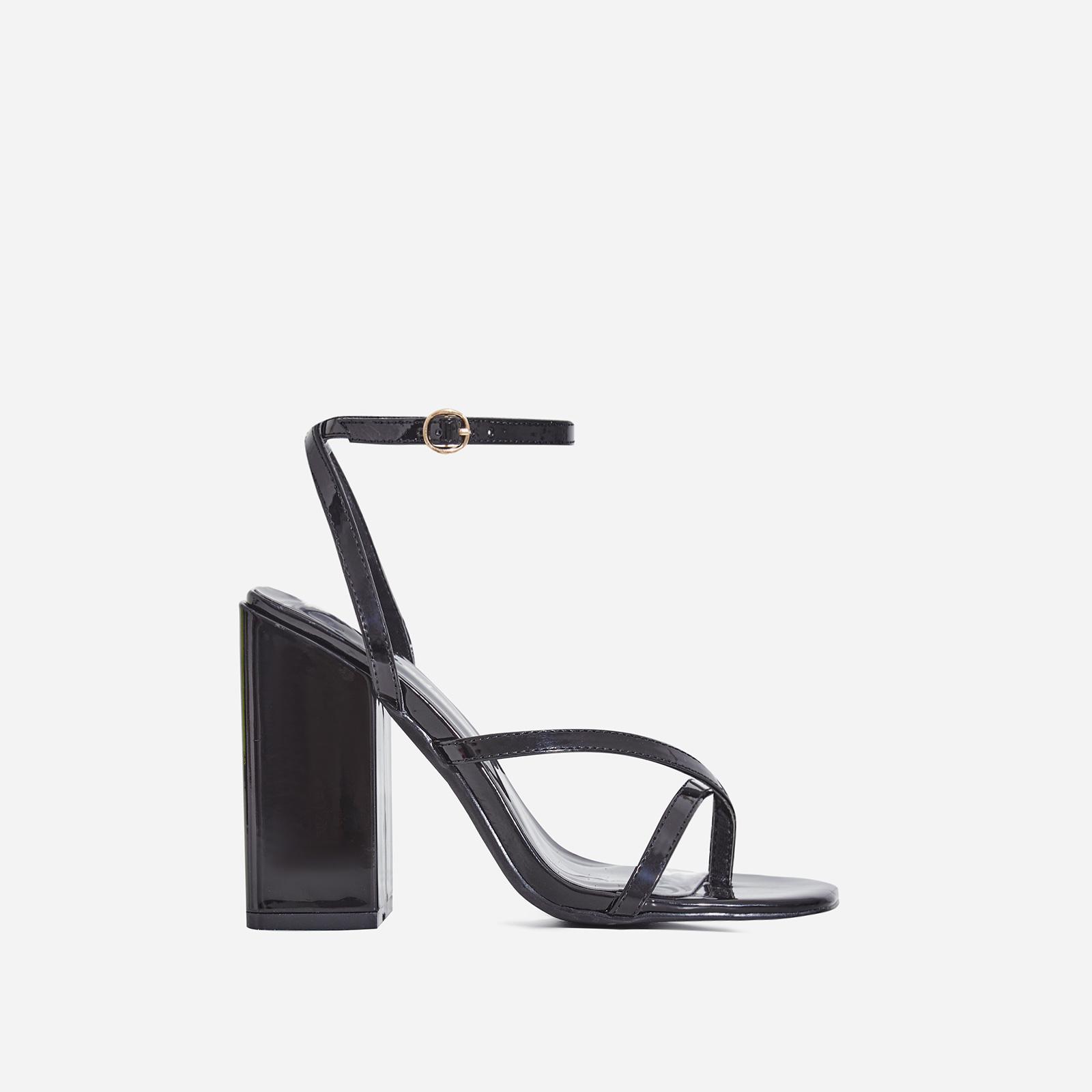 Grace Toe Strap Block Heel In Black Patent