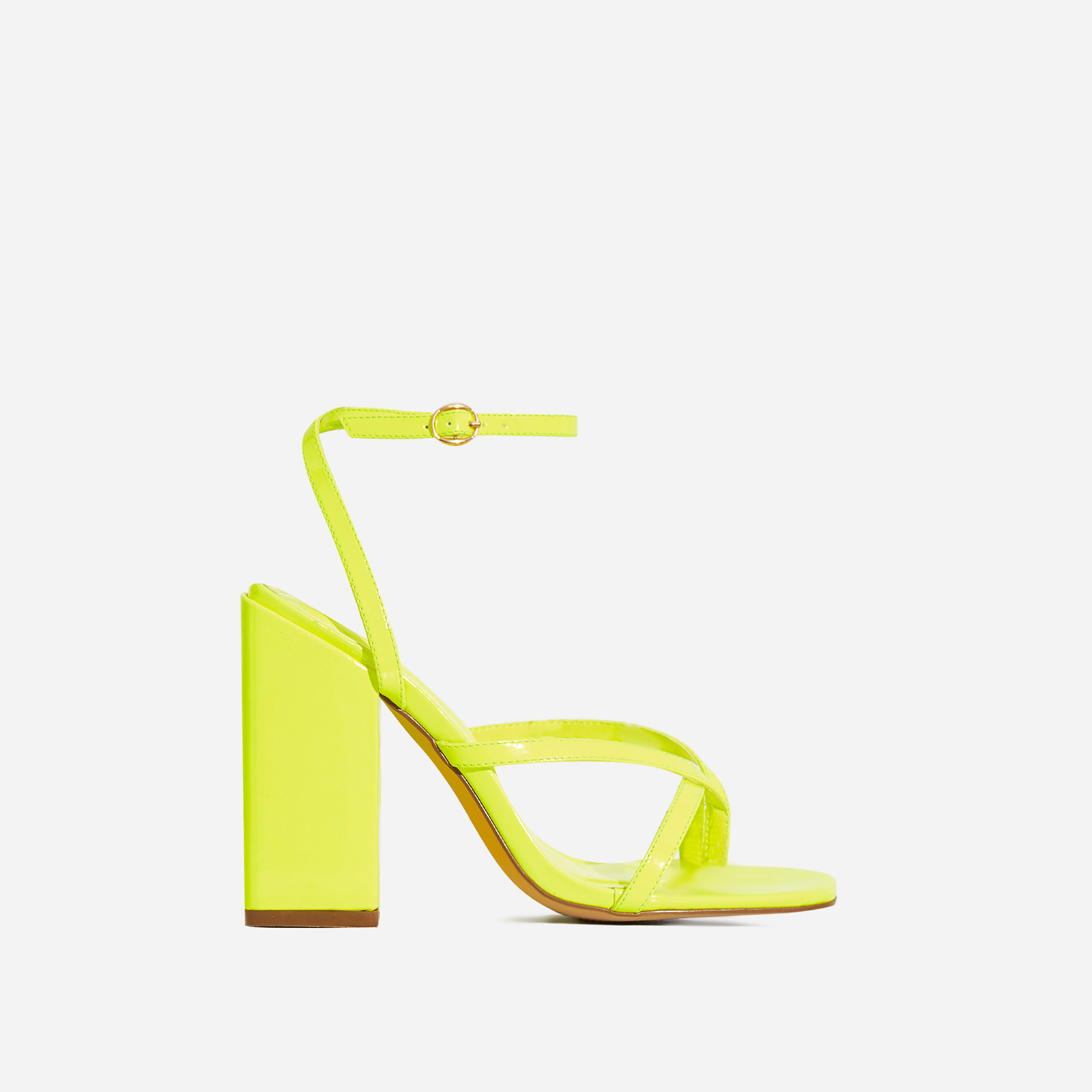 Grace Toe Strap Block Heel In Lime Green Patent