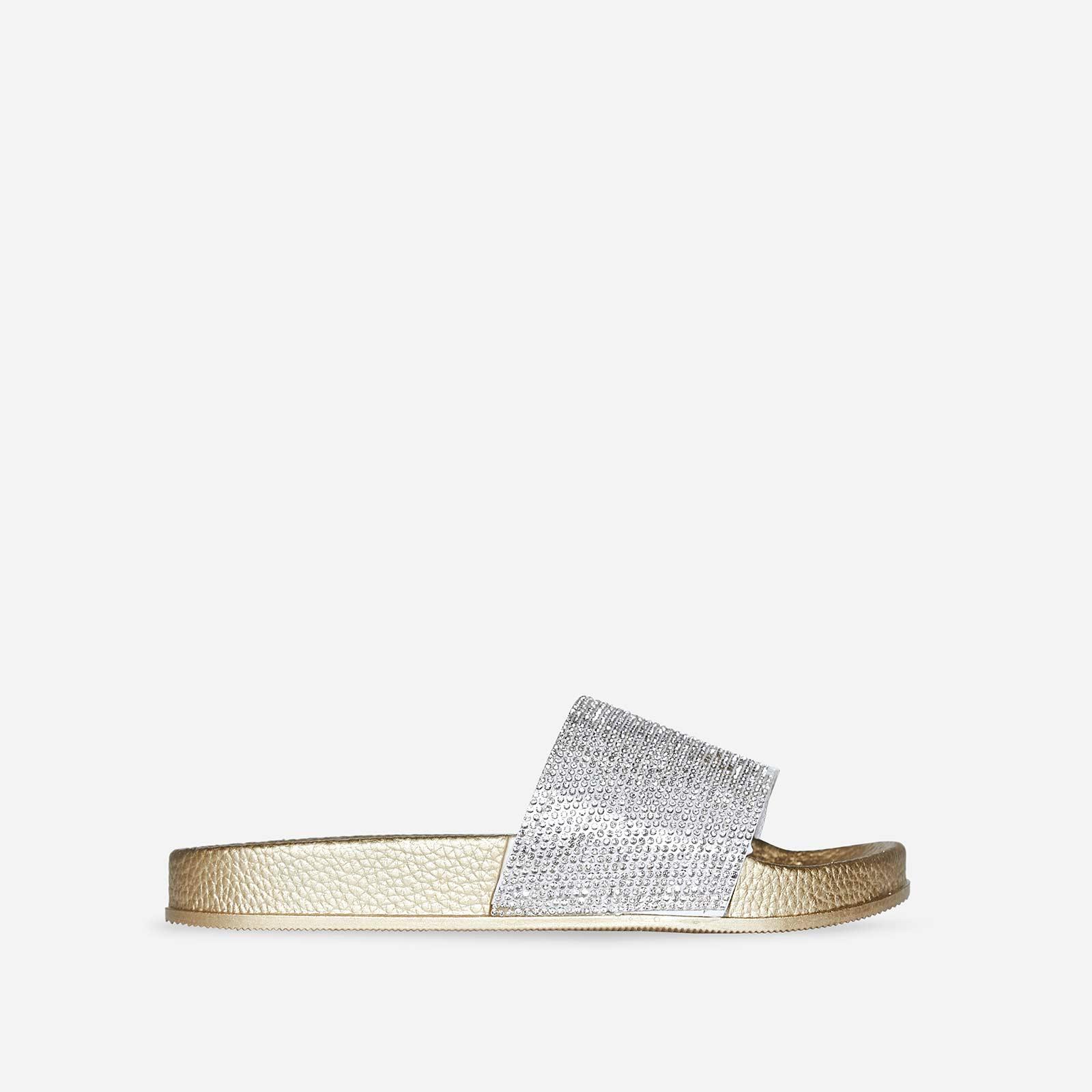 Vibe Diamante Slider In Gold Rubber