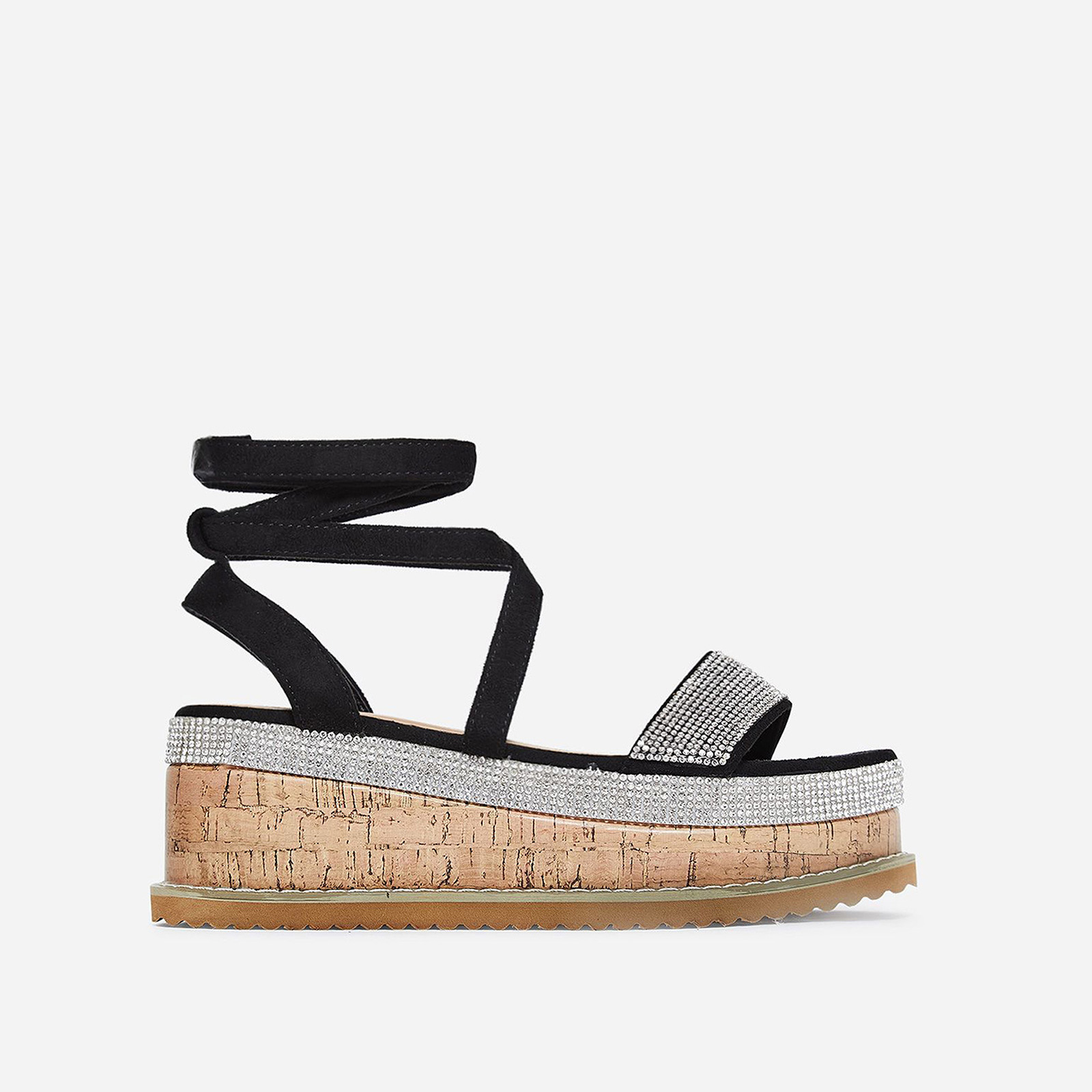 Haim Diamante Detail Espadrille Flatform In Black Faux Suede