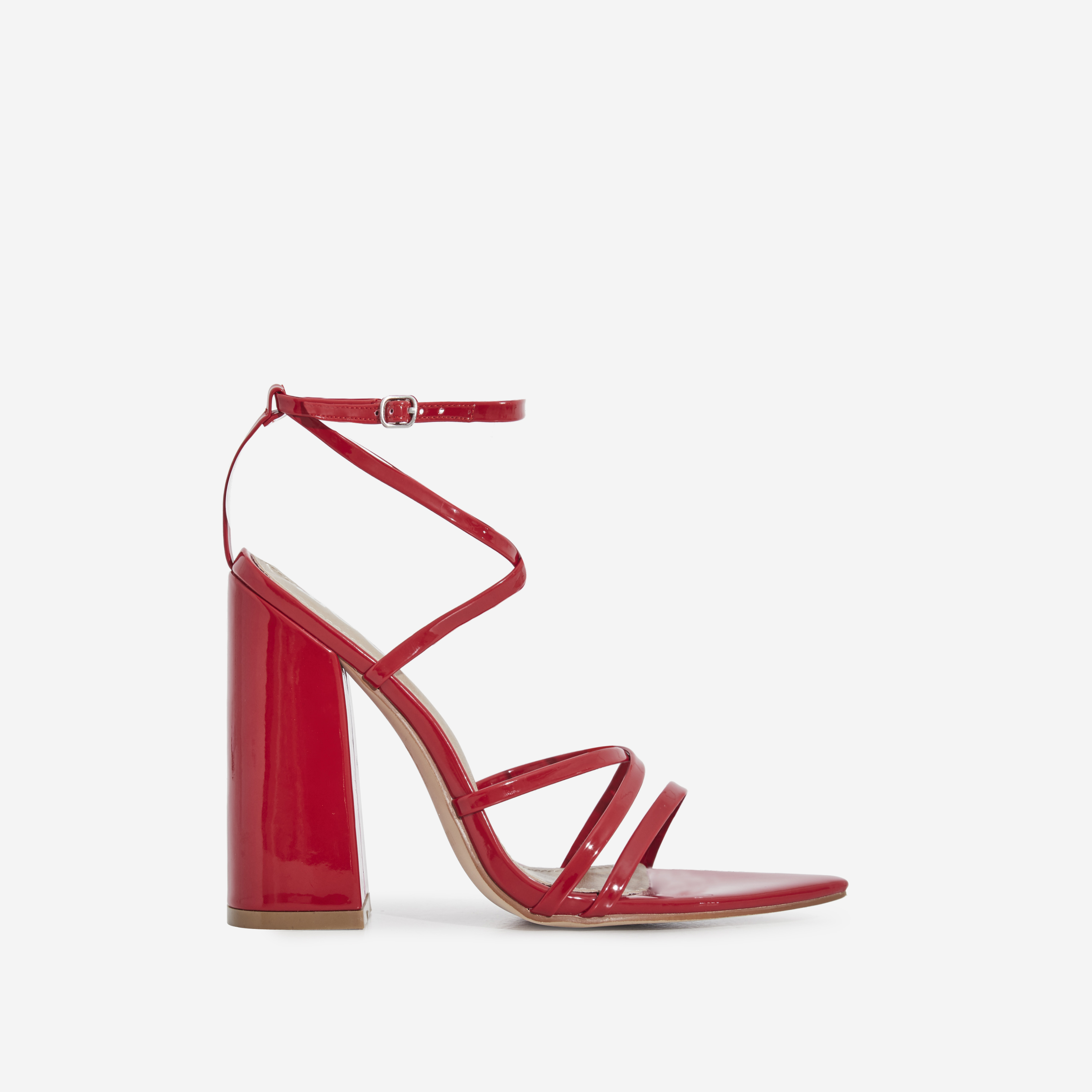 Halo Pointed Toe Block Heel In Red Patent