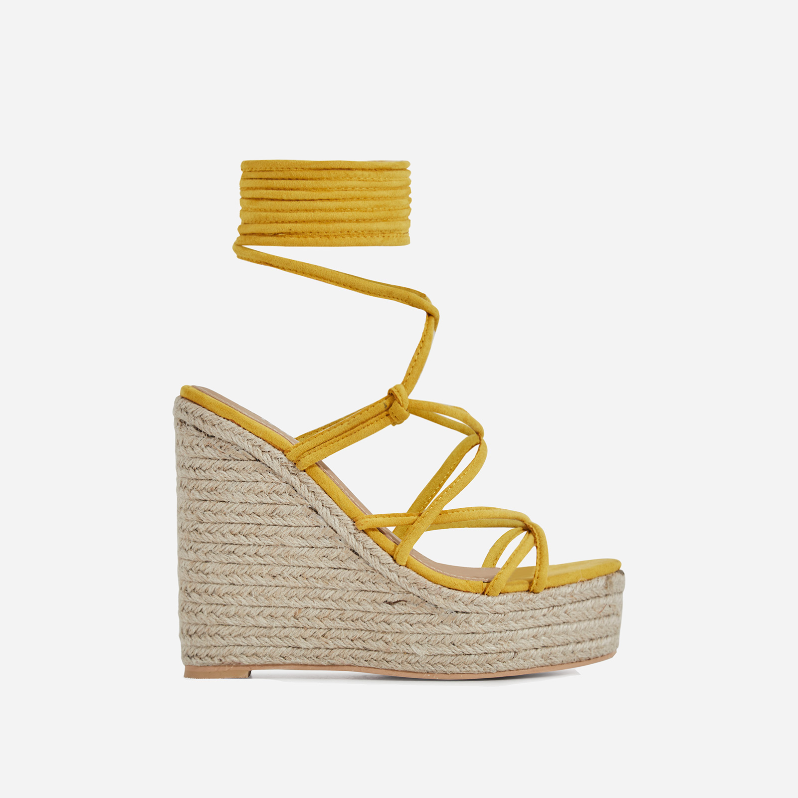 Hanna Platform Lace Up Espadrille Wedge Block Heel In Yellow Faux Suede