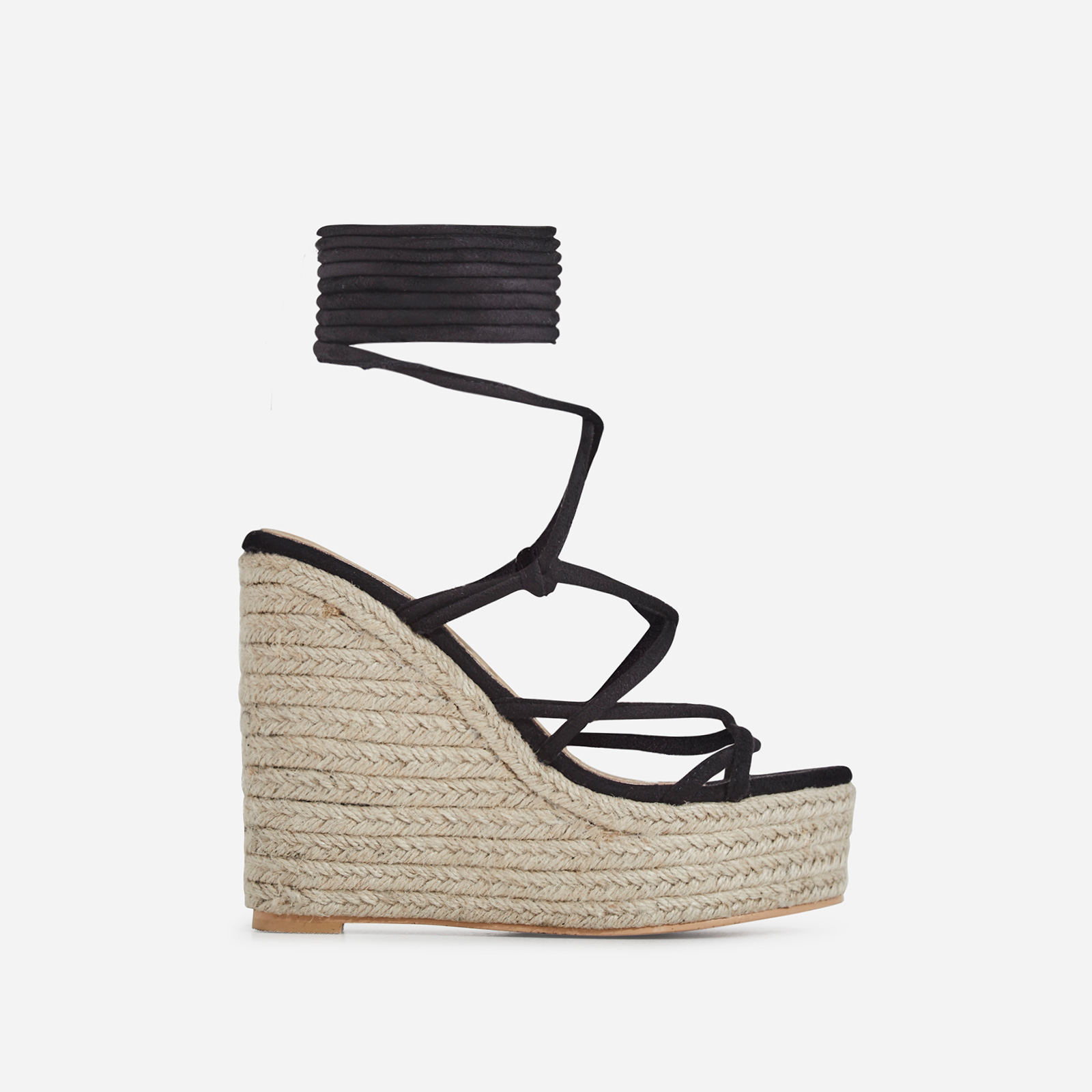Hanna Platform Lace Up Espadrille Wedge Block Heel In Black Faux Suede