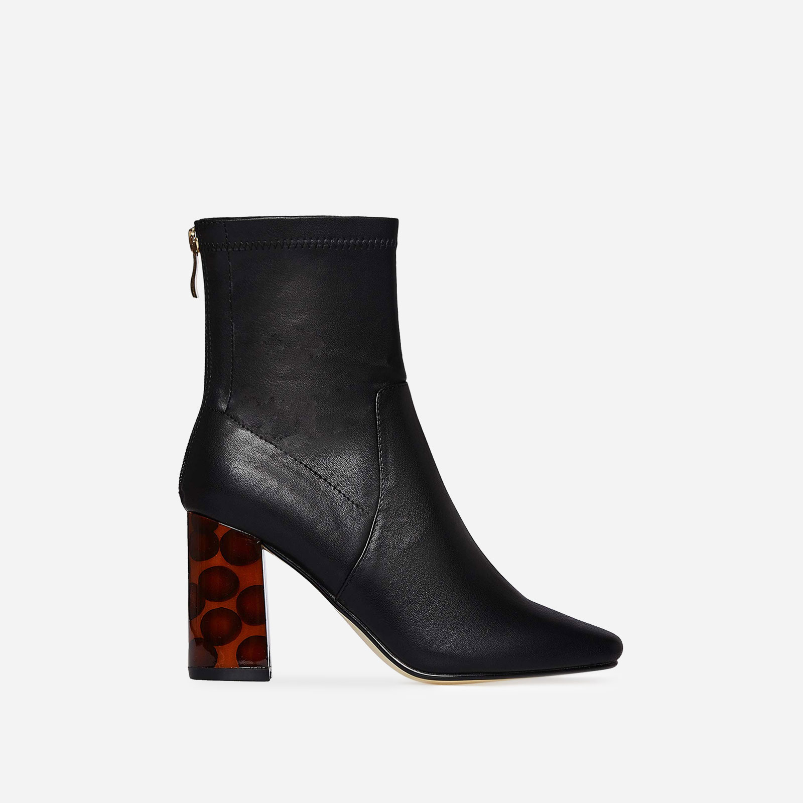 Demi Contrast Heel Ankle Boot In Black Faux Leather