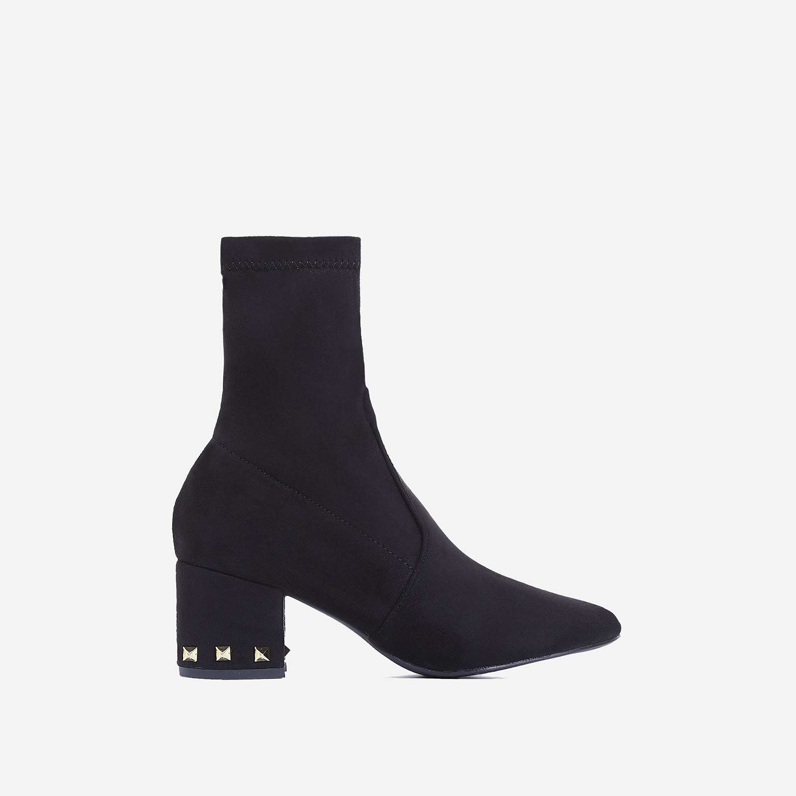 Harper Studded Detail Ankle Boot In Black Faux Suede