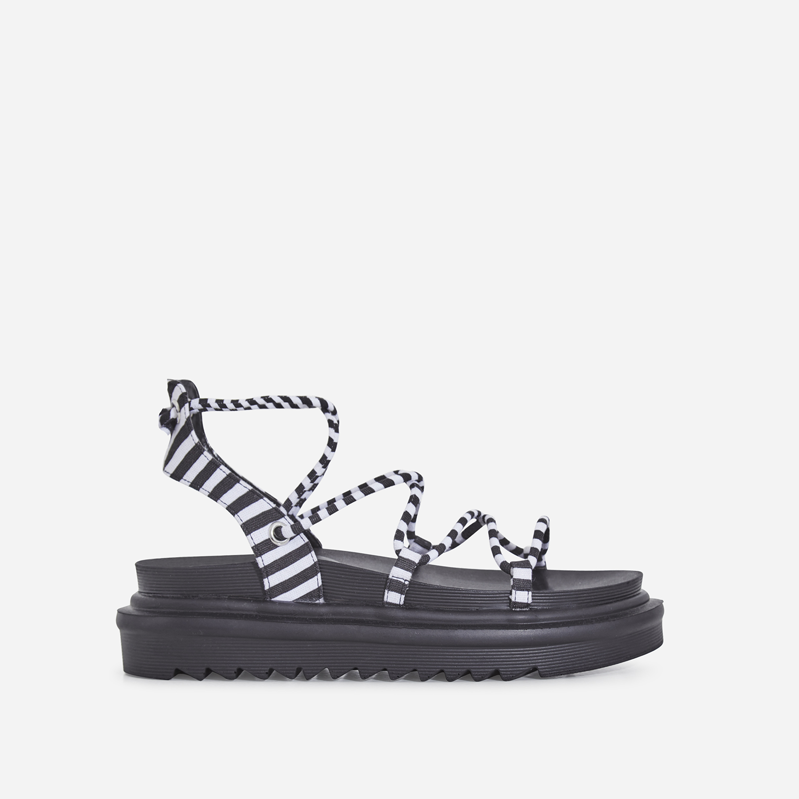 Harper Lace Up Chunky Sole Sandal In Black Strip Canvas