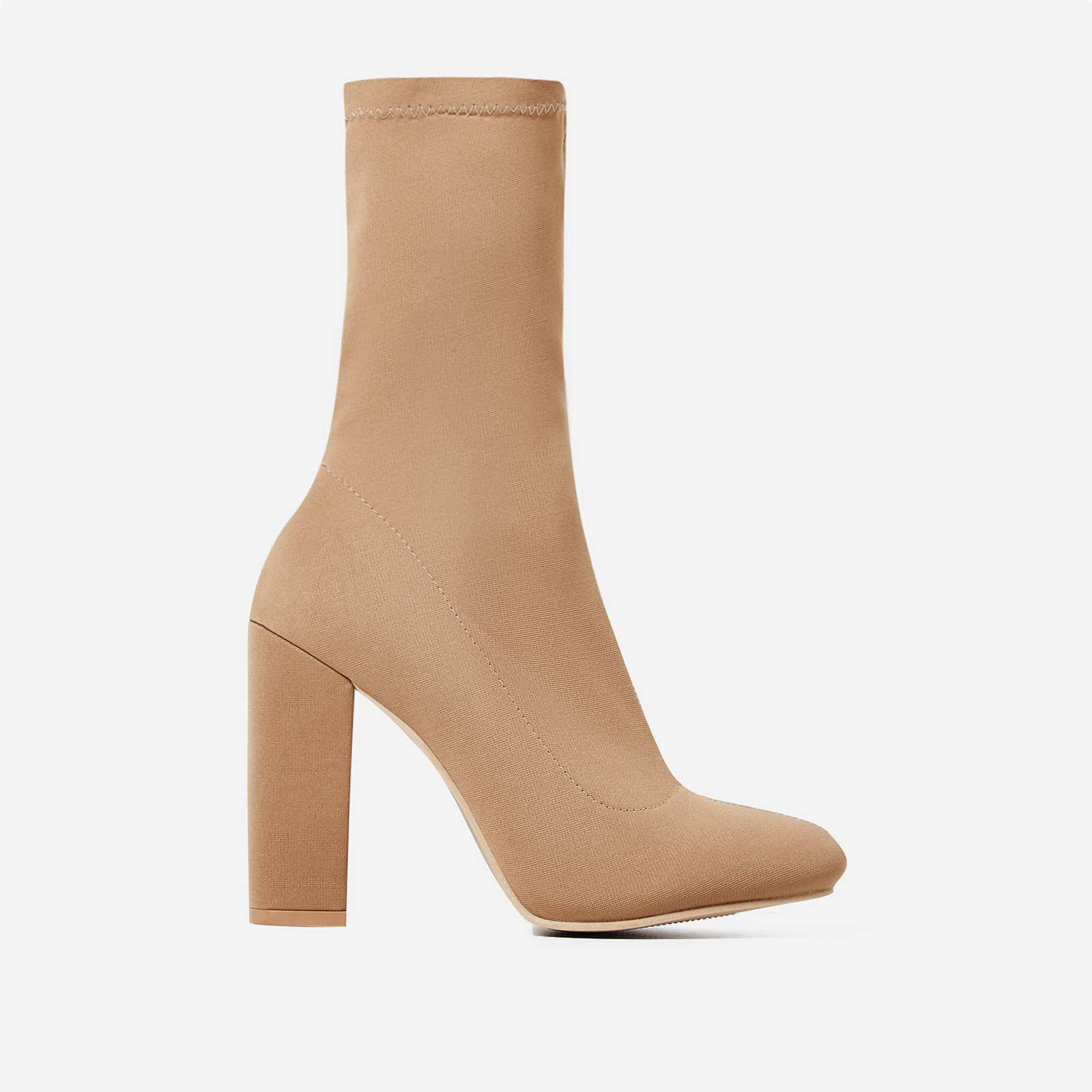 Hayden Block Heel Sock Boot In Nude Lycra