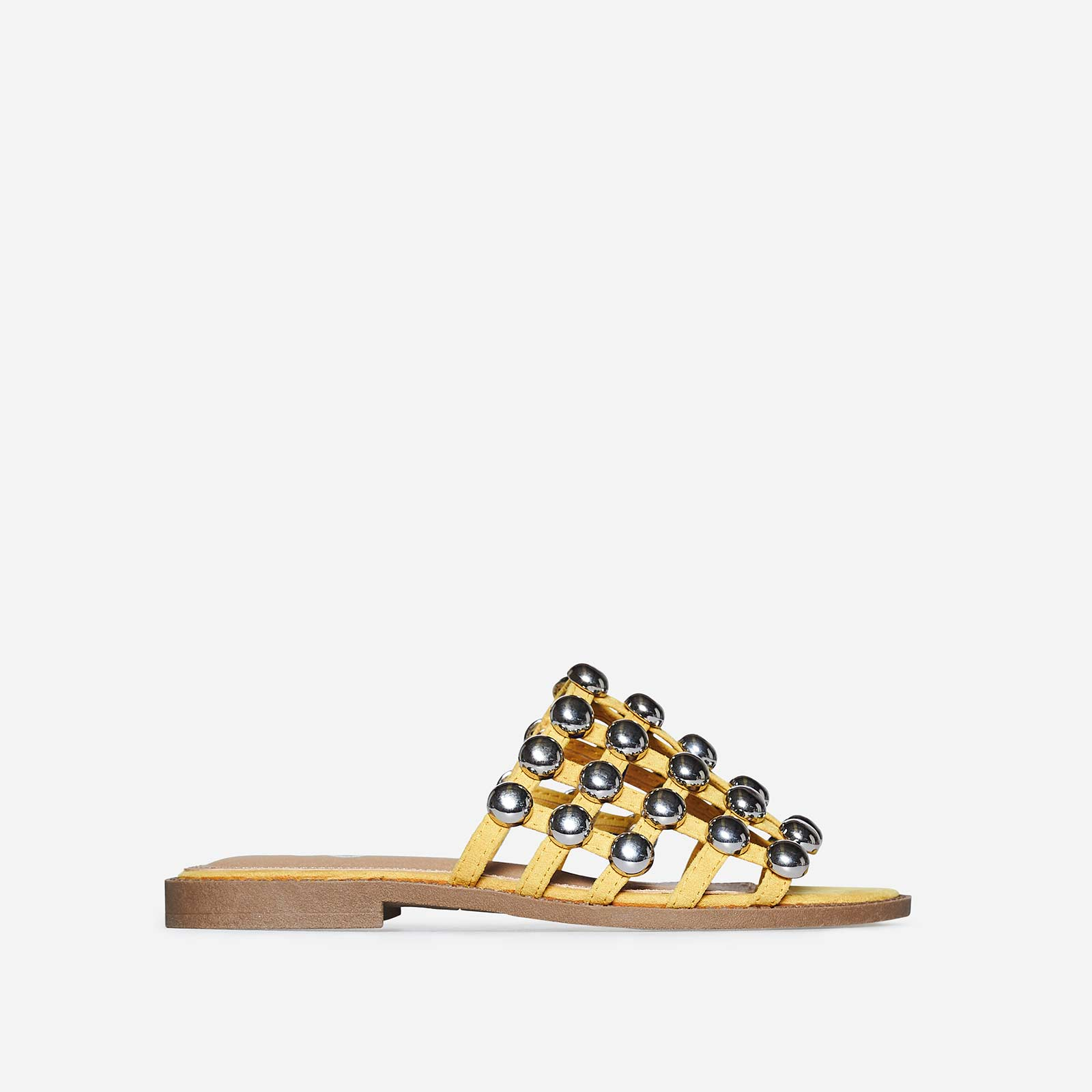 Hazel Silver Studded Detail Slider In Yellow Faux Suede