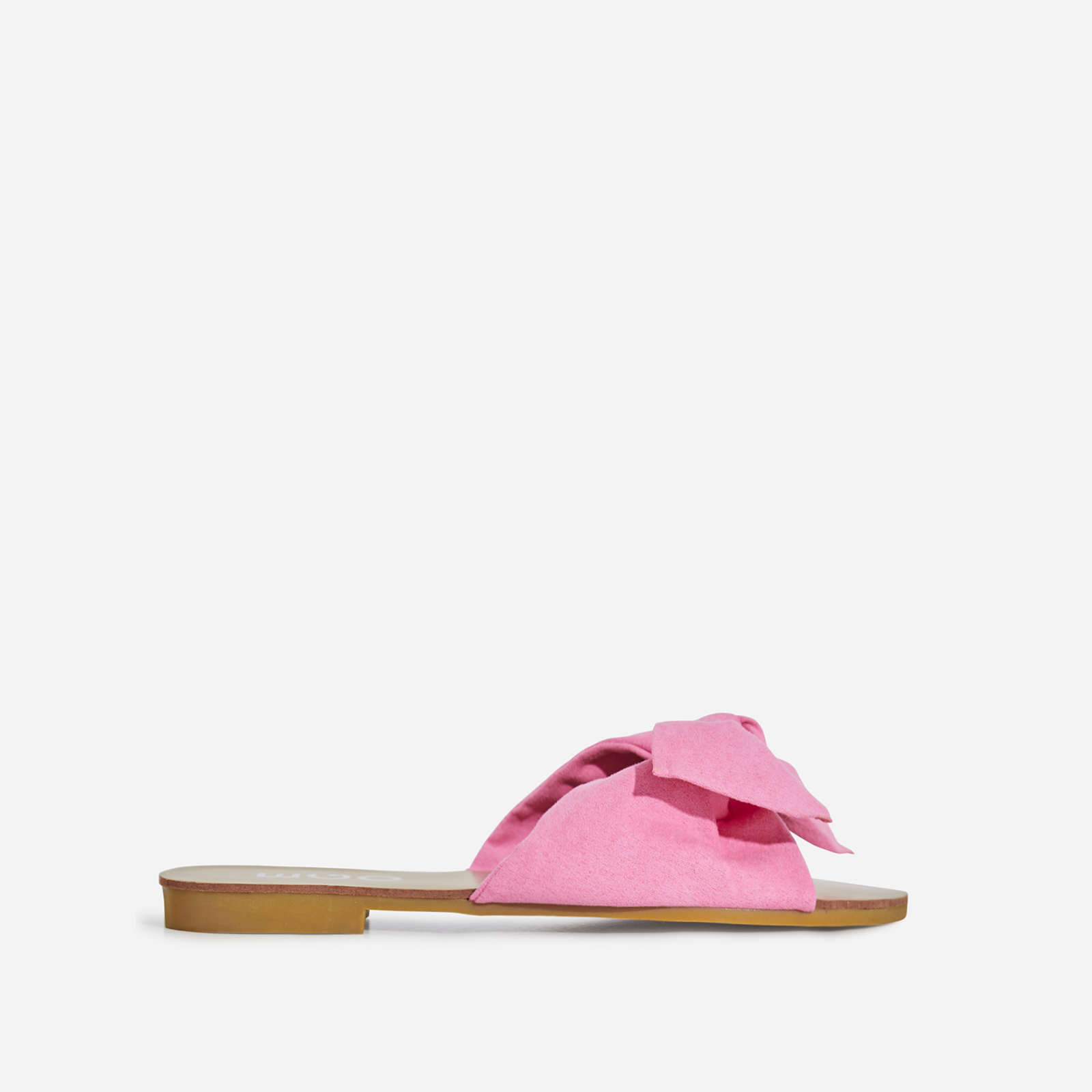 Hebe Box Detail Slider In Neon Pink Faux Suede