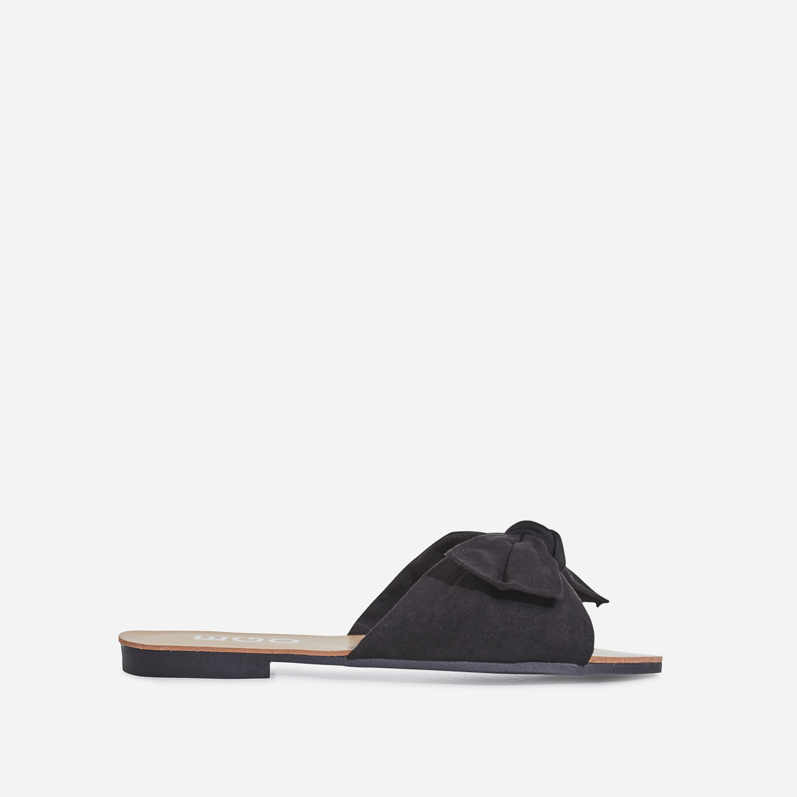 Hebe Bow Detail Slider In Black Faux Suede