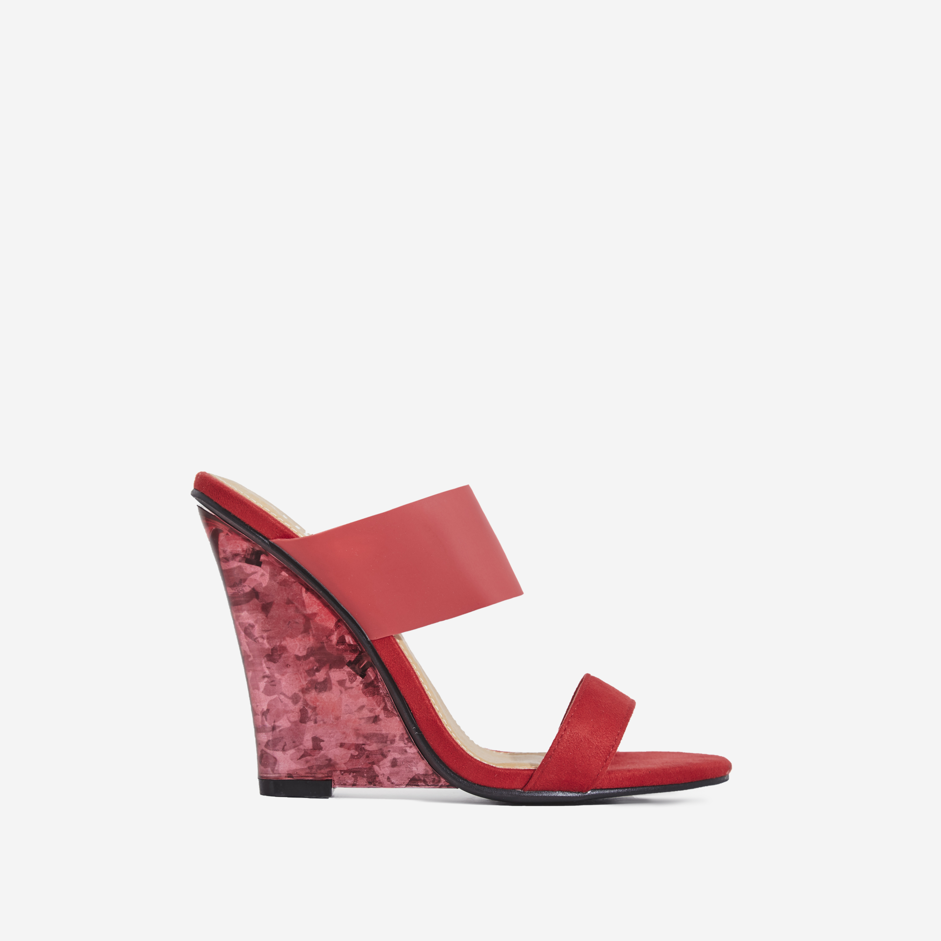 Helena Tortoiseshell Perspex Wedge Mule In Red Faux Suede