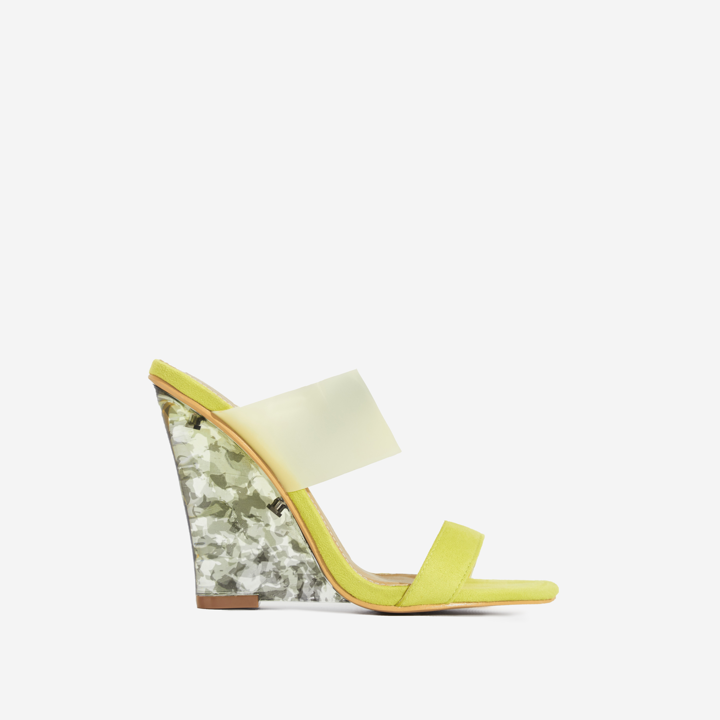 Helena Tortoiseshell Perspex Wedge Mule In Yellow Faux Suede