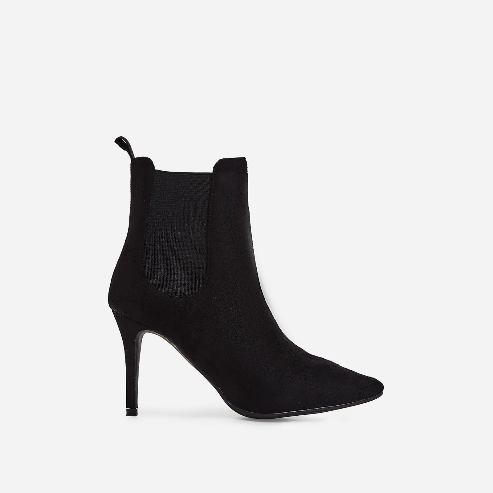 Hettie Elasticated Ankle Boot In Black Faux Suede
