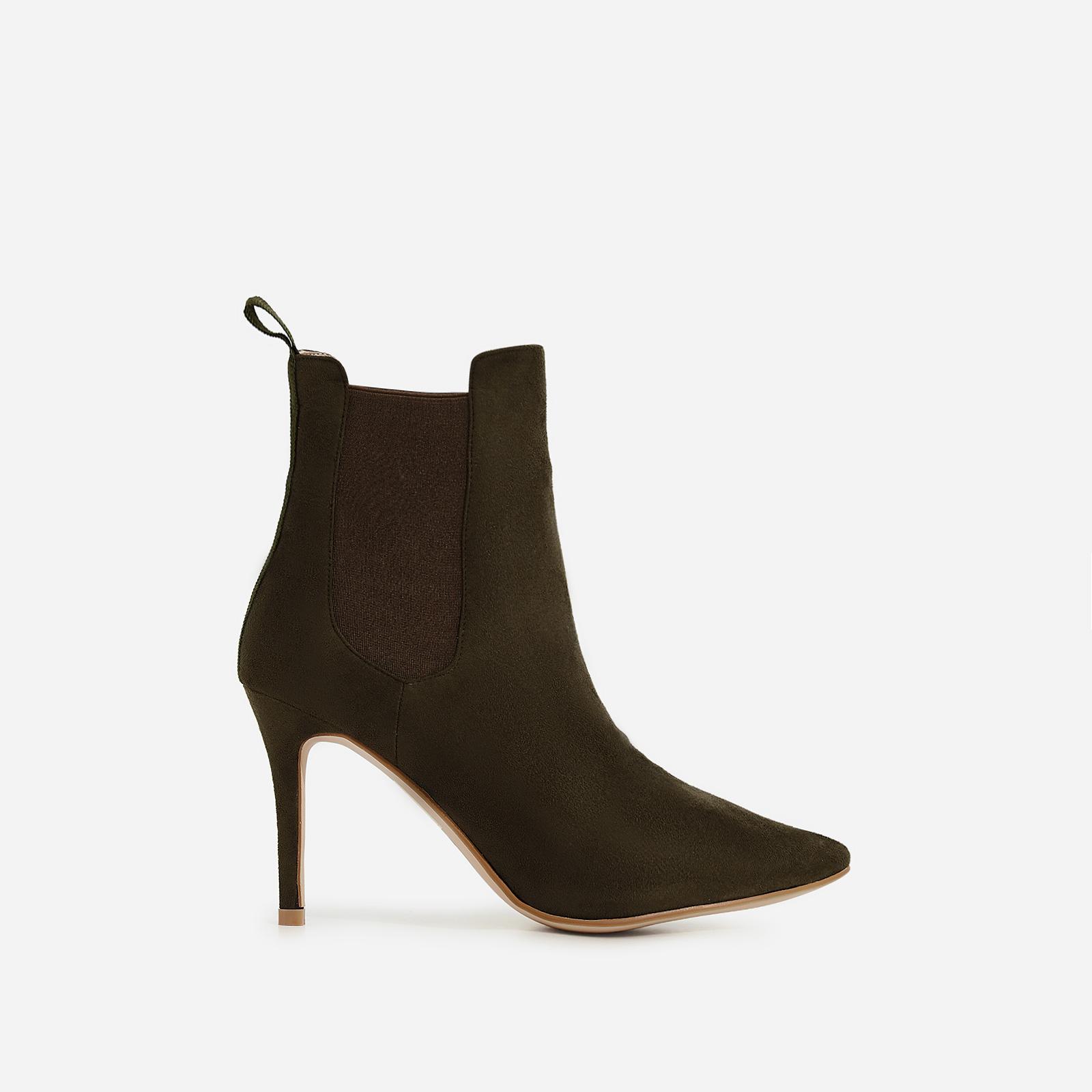 Hettie Elasticated Ankle Boot In Khaki Faux Suede