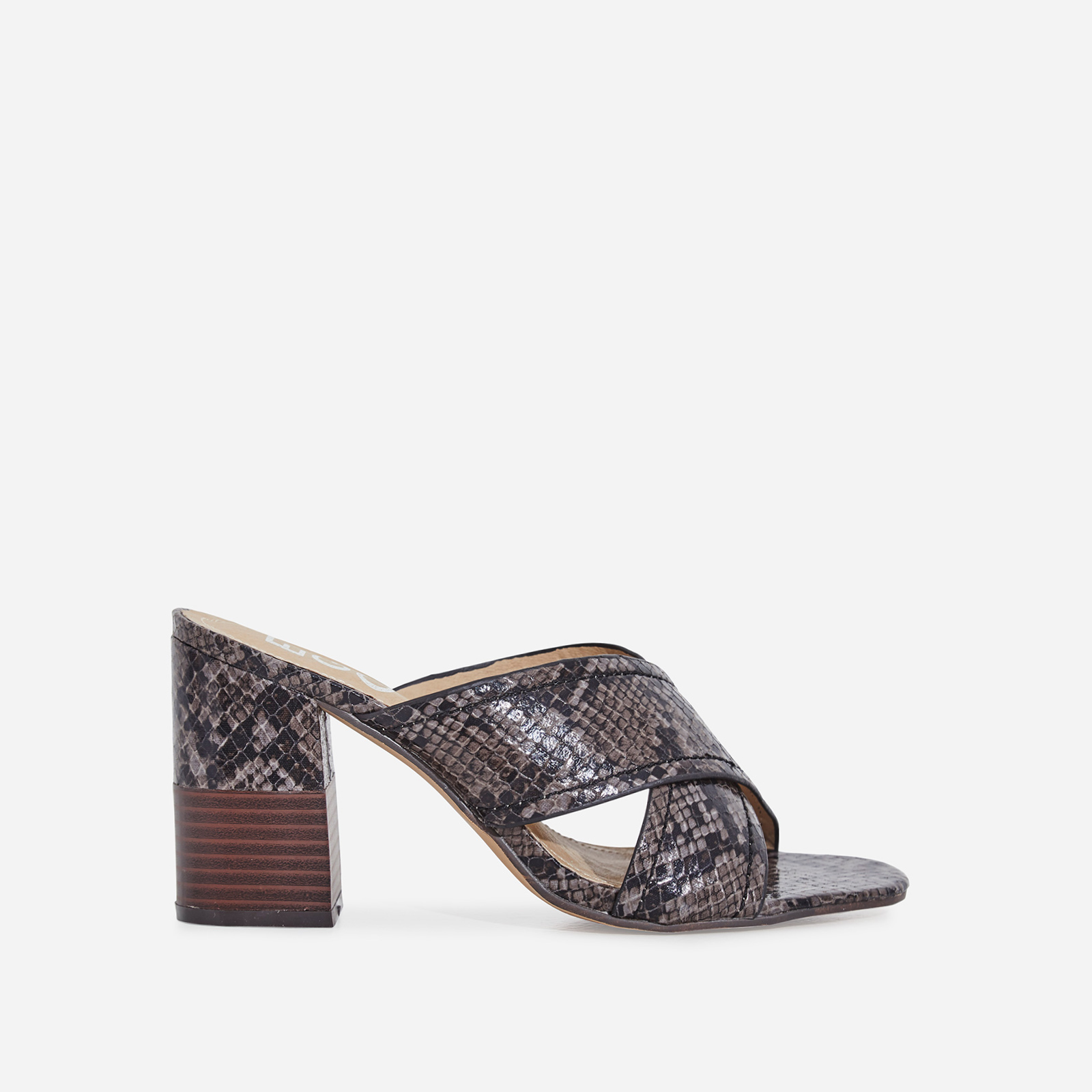 Holland Crossover Block Heel Mule In Black Snake Print Faux Leather