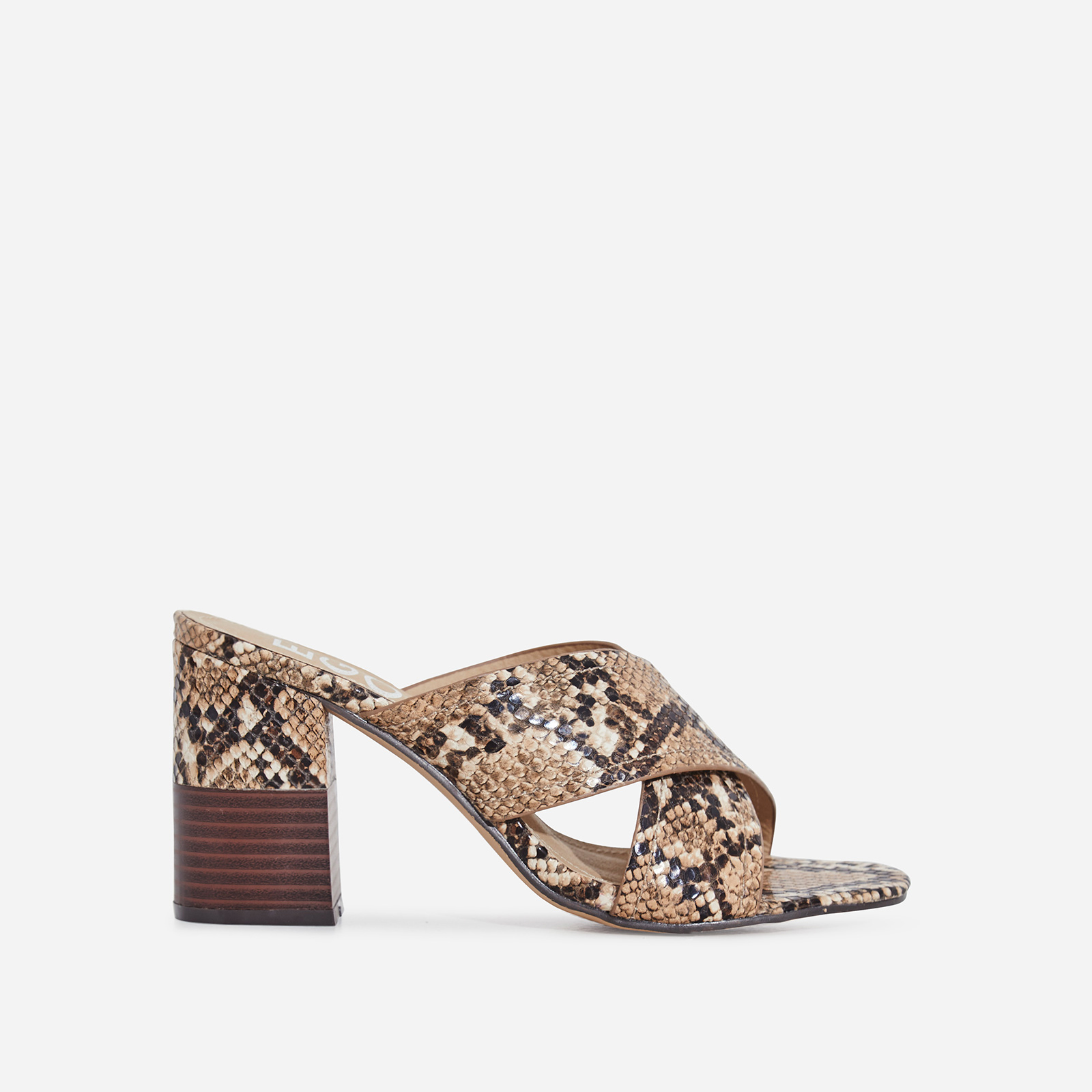 Holland Crossover Block Heel Mule In Nude Snake Print Faux Leather