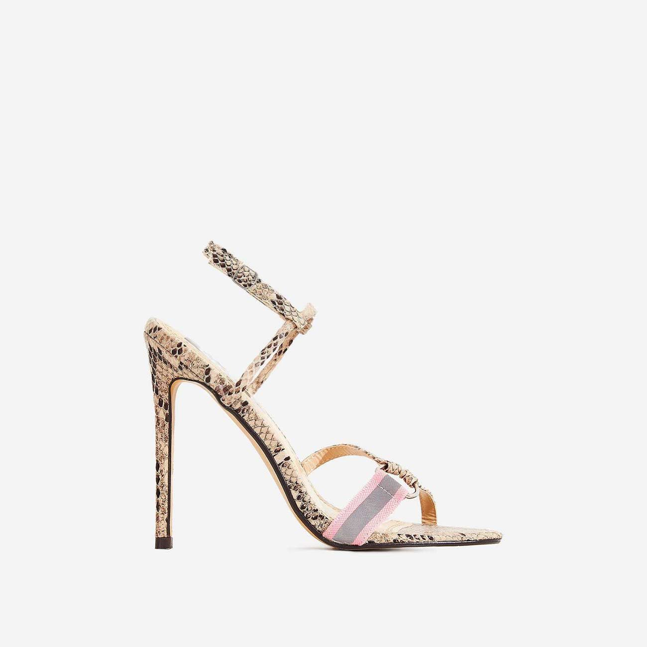 Tasmin Square Toe Barely There Heel In Nude Snake Print Faux Leather