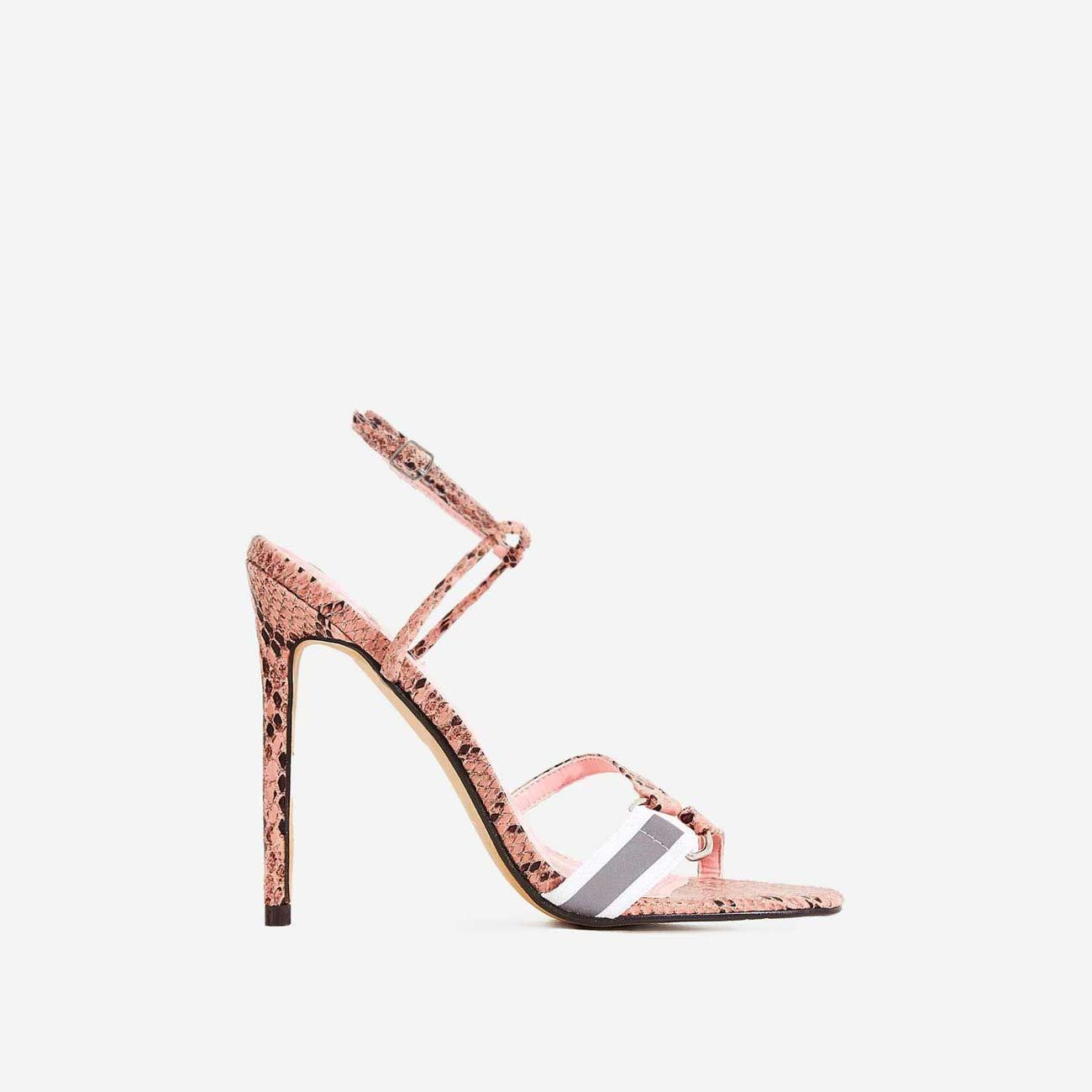 Tasmin Square Toe Barely There Heel In Pink Snake Print Faux Leather