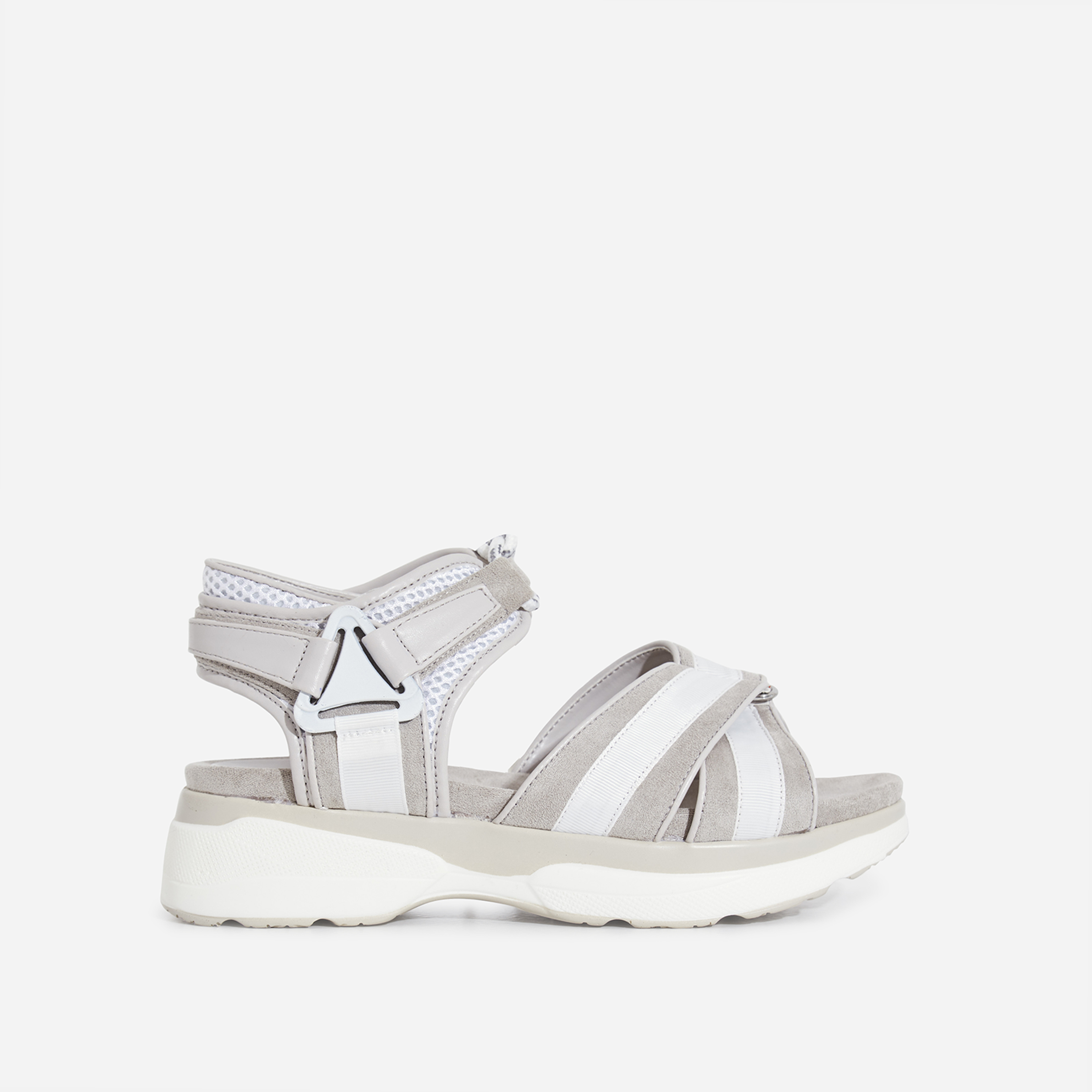 Hudson Lace Up Chunky Sole Sandal In Grey Faux Suede