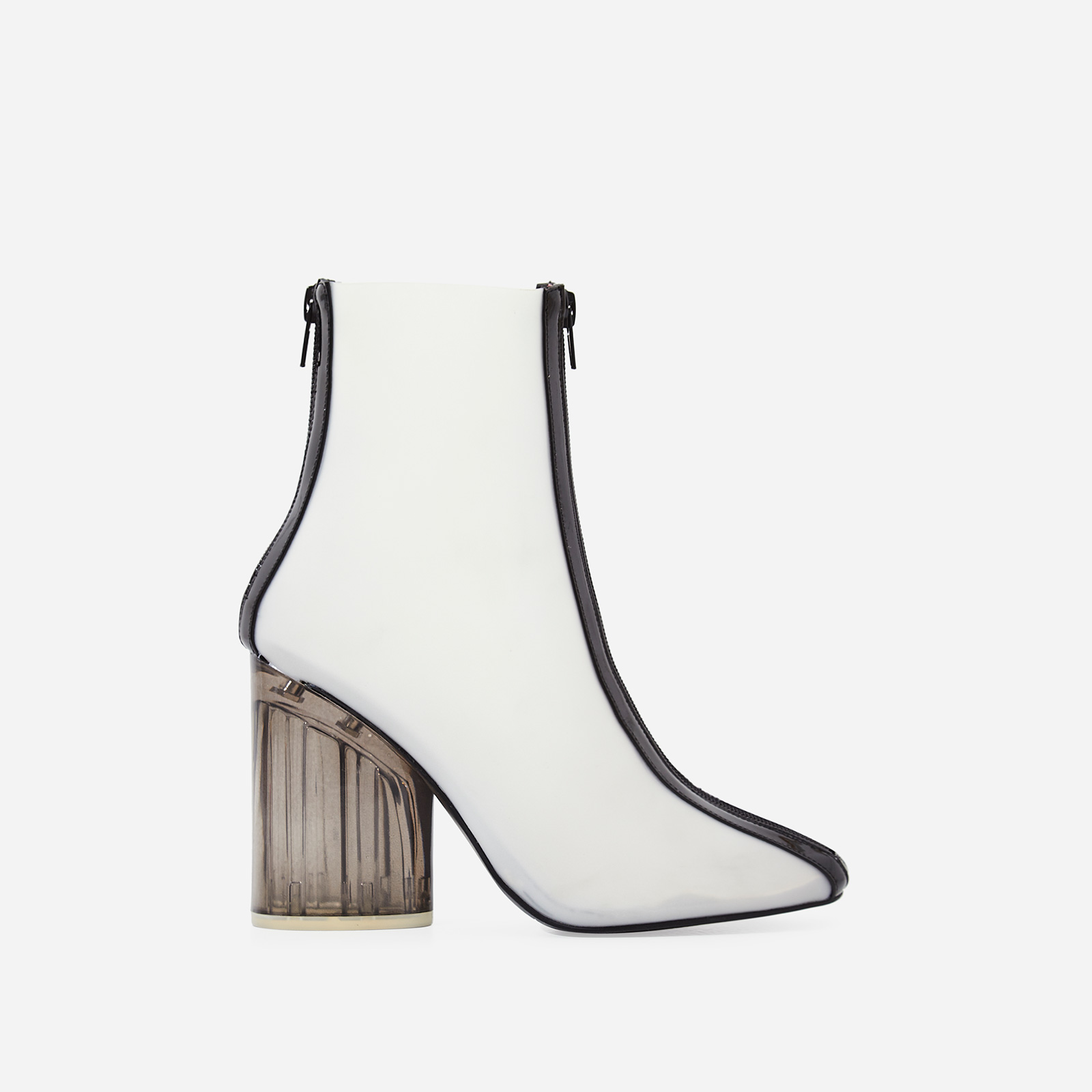 Ice Frosted Perspex Ankle Boot In Black Patent