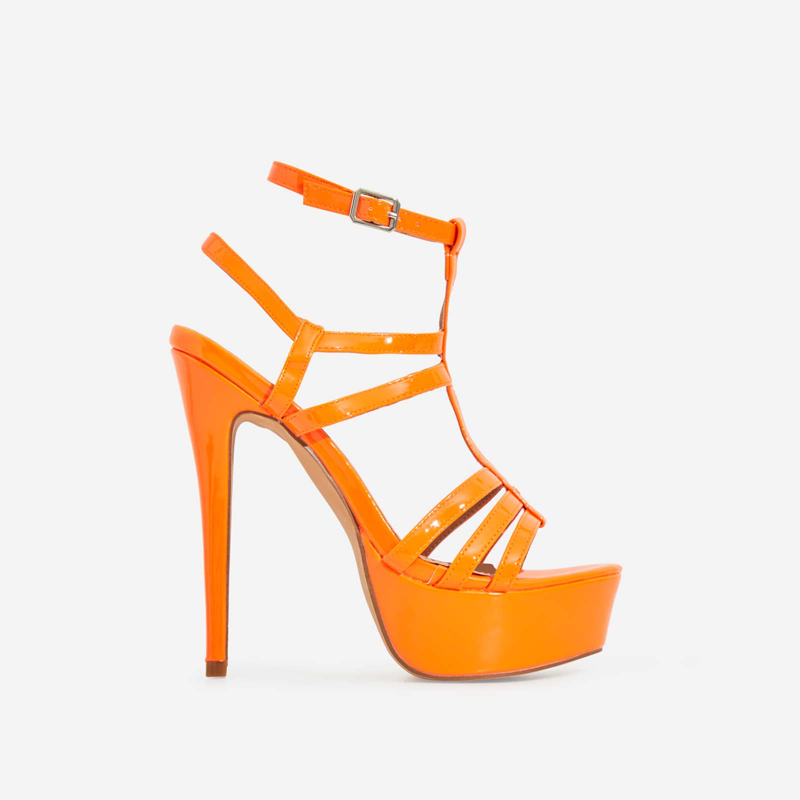 Iconic Cage Platform Heel In Neon Orange Patent