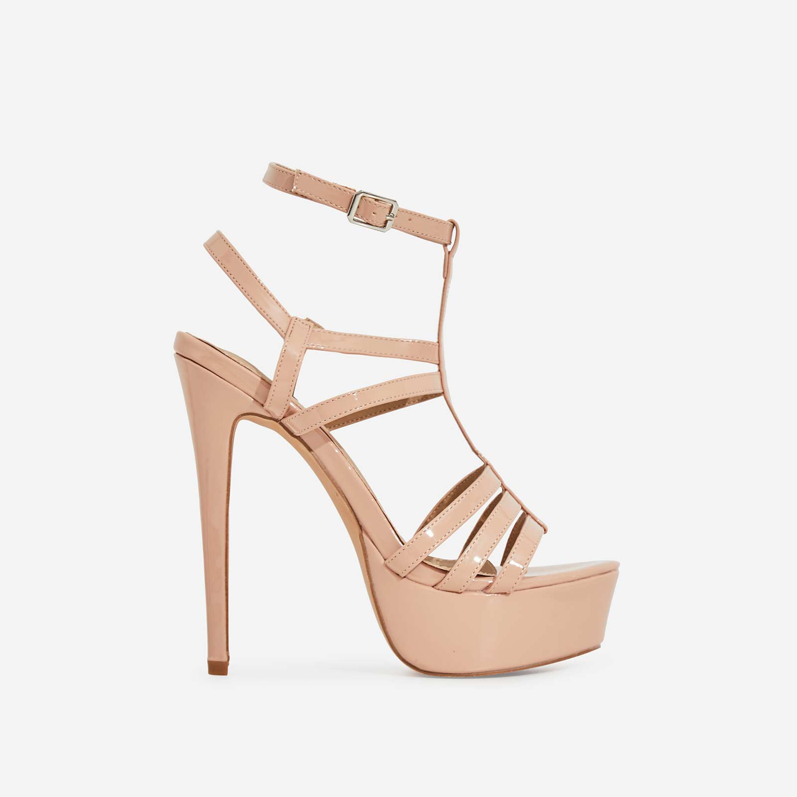 Iconic Cage Platform Heel In Nude Patent