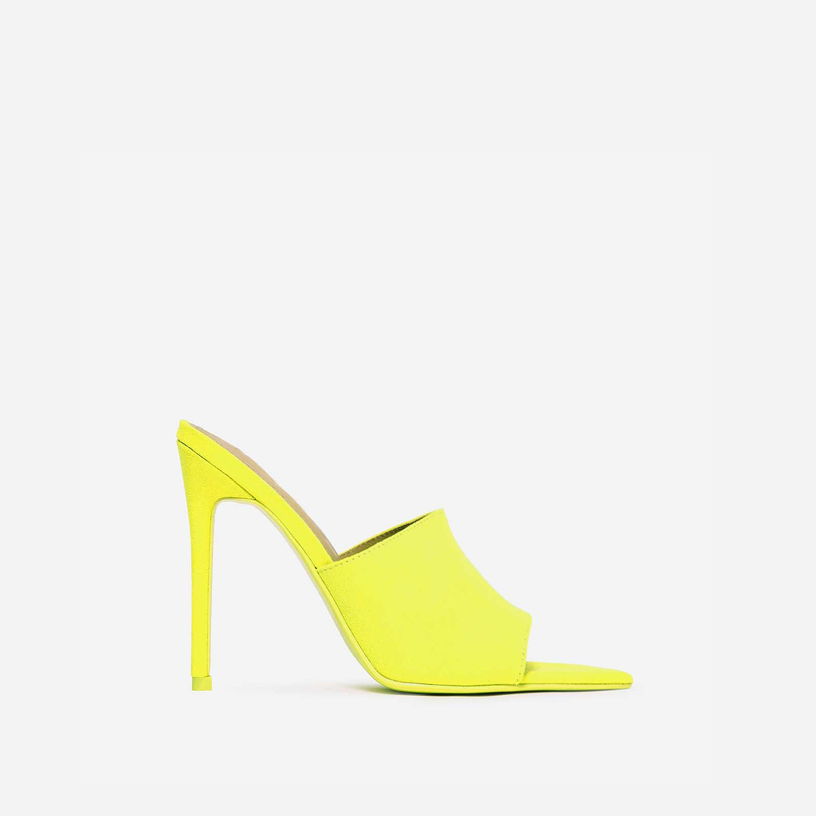 Cece Pointed Peep Toe Mule In Neon Yellow Faux Suede