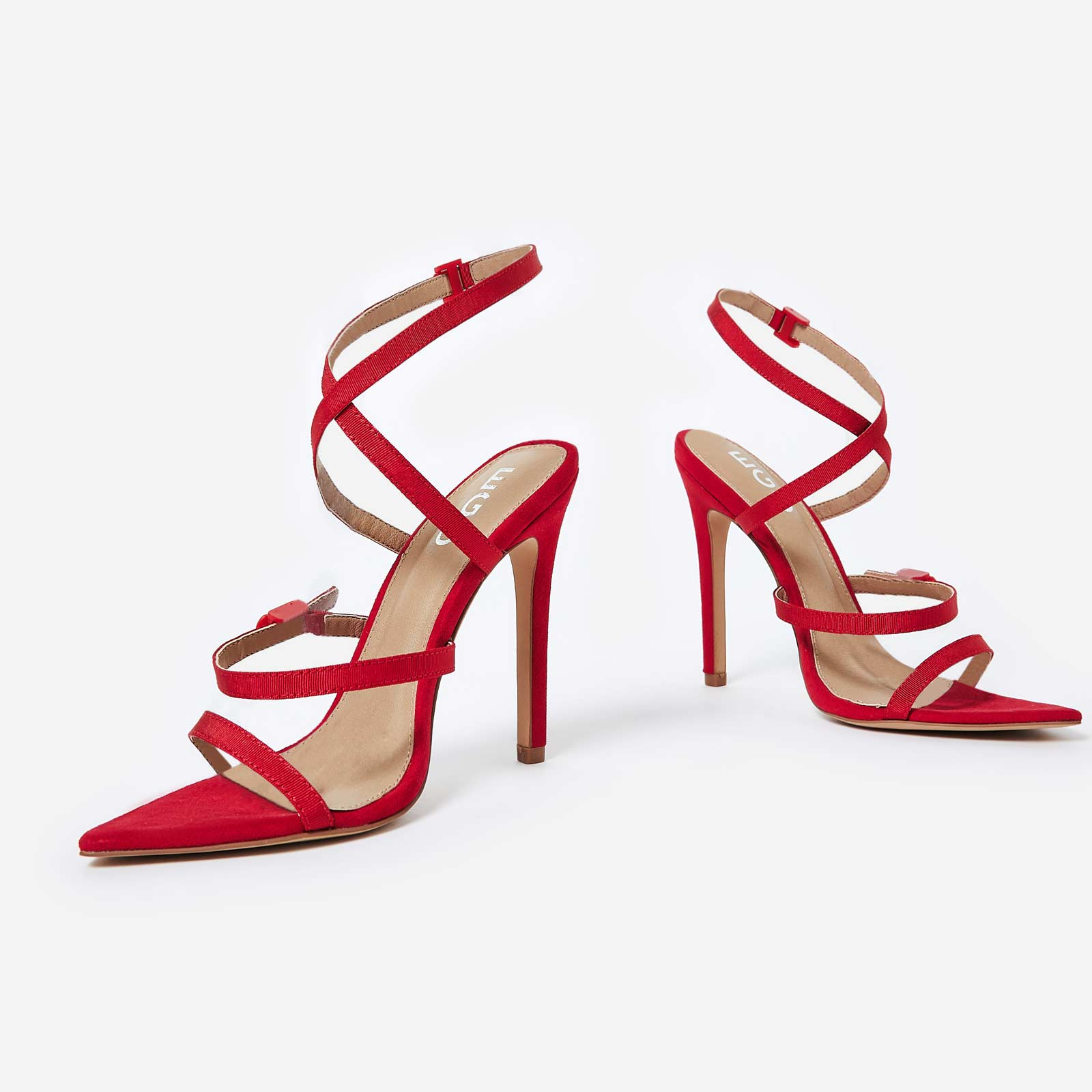 Hana Strappy Heel In Red Faux Suede