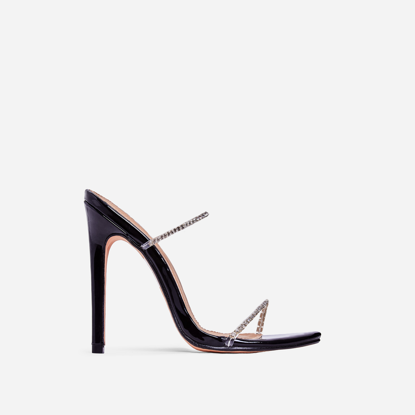 Chaos Diamante Detail Barely There Heel Mule In Black Patent