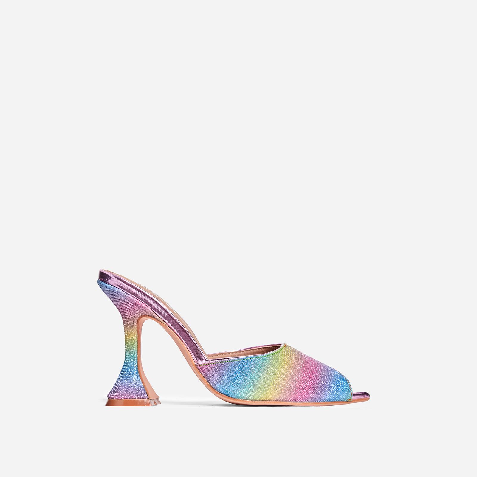 Jetset Peep Toe Pyramid Heel Mule In Rainbow Glitter