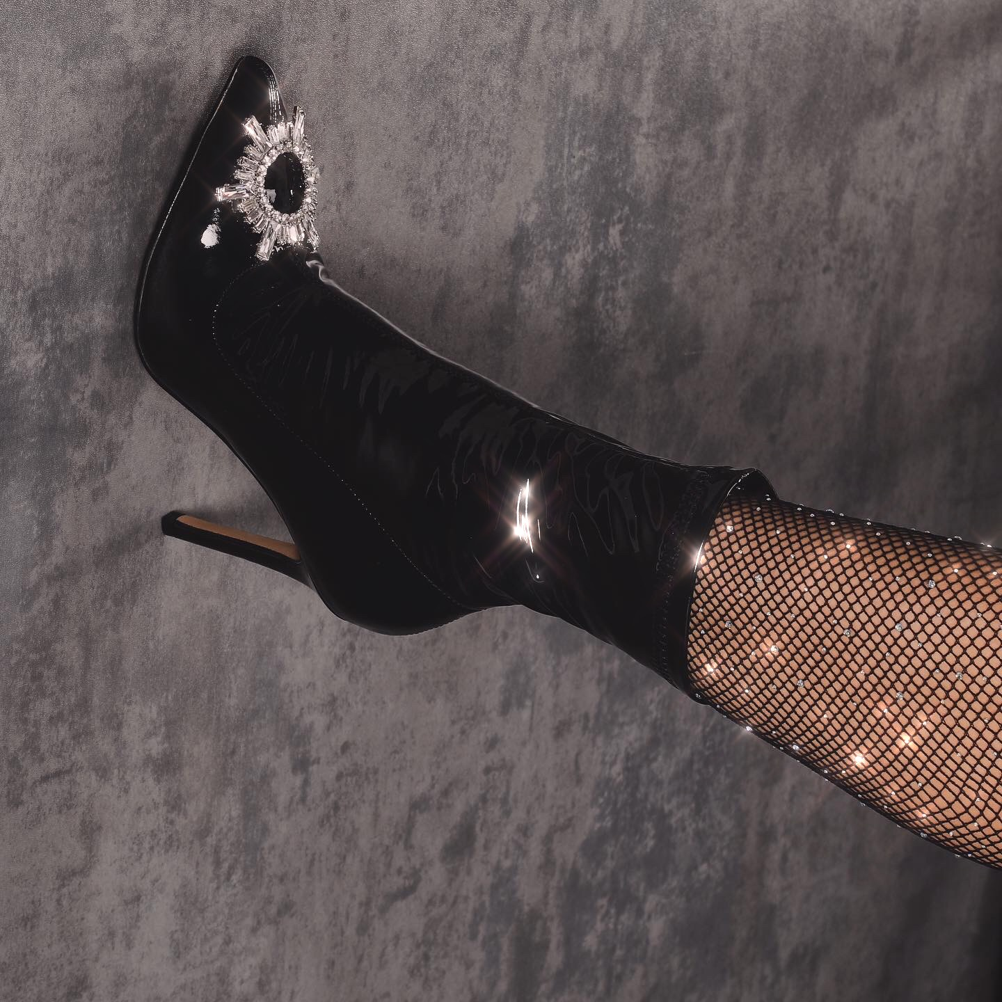 Starlight Diamante Detail Ankle Boot In Black Patent