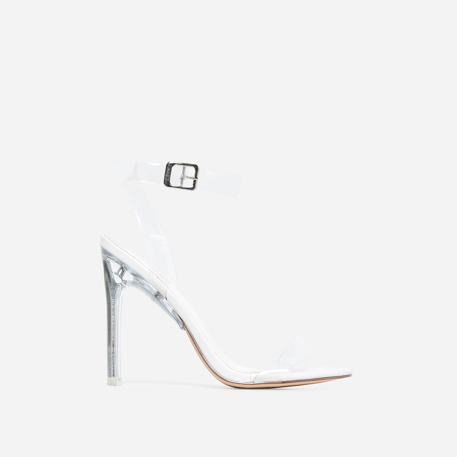 Invisible Barely There Flat Perspex Heel In White Faux Leather